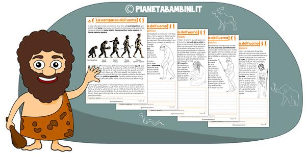 Schede didattiche sulla comparsa dell'uomo per la terza classe della scuola primaria da stampare gratis