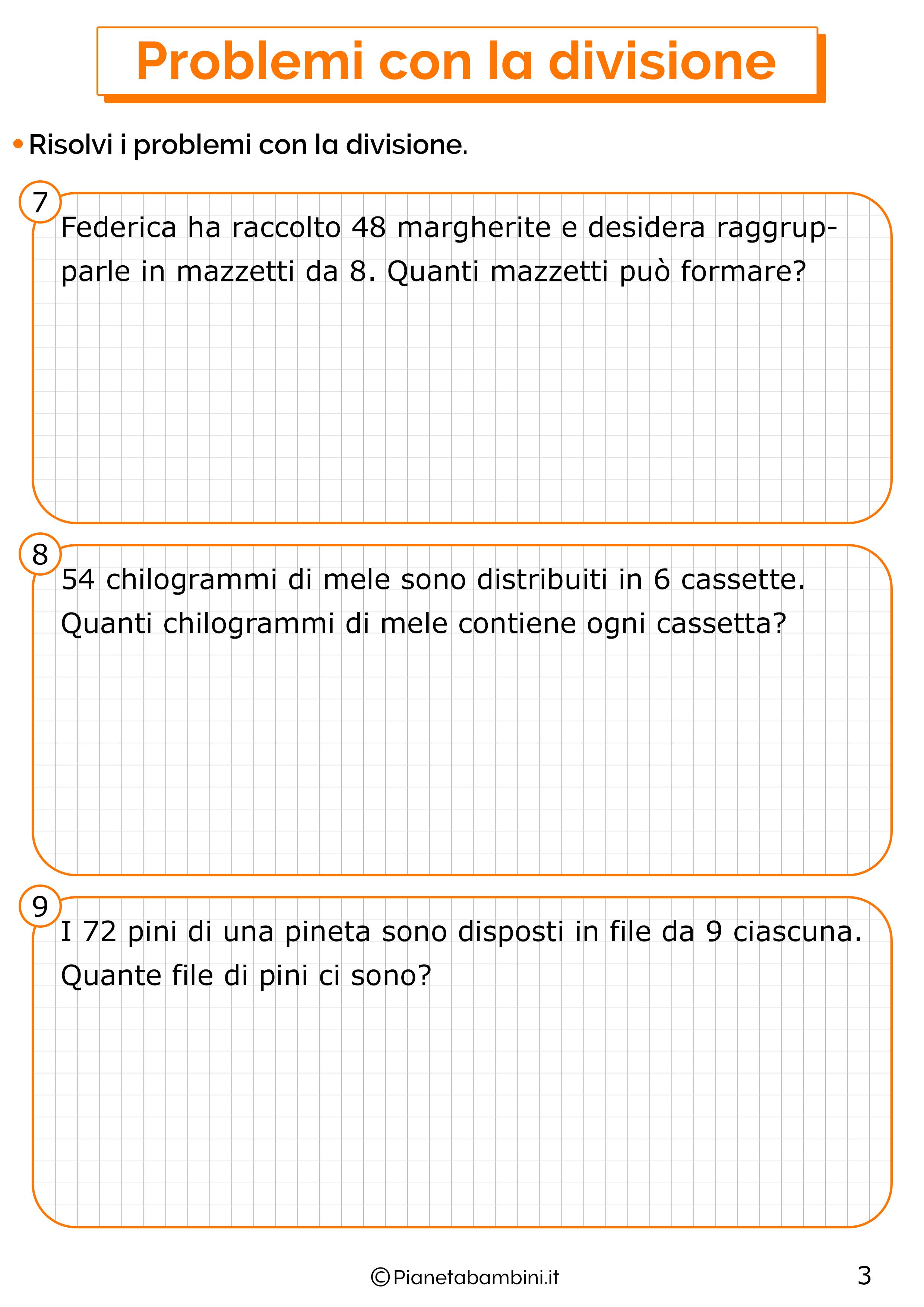 Problemi con la divisione per la classe seconda 3