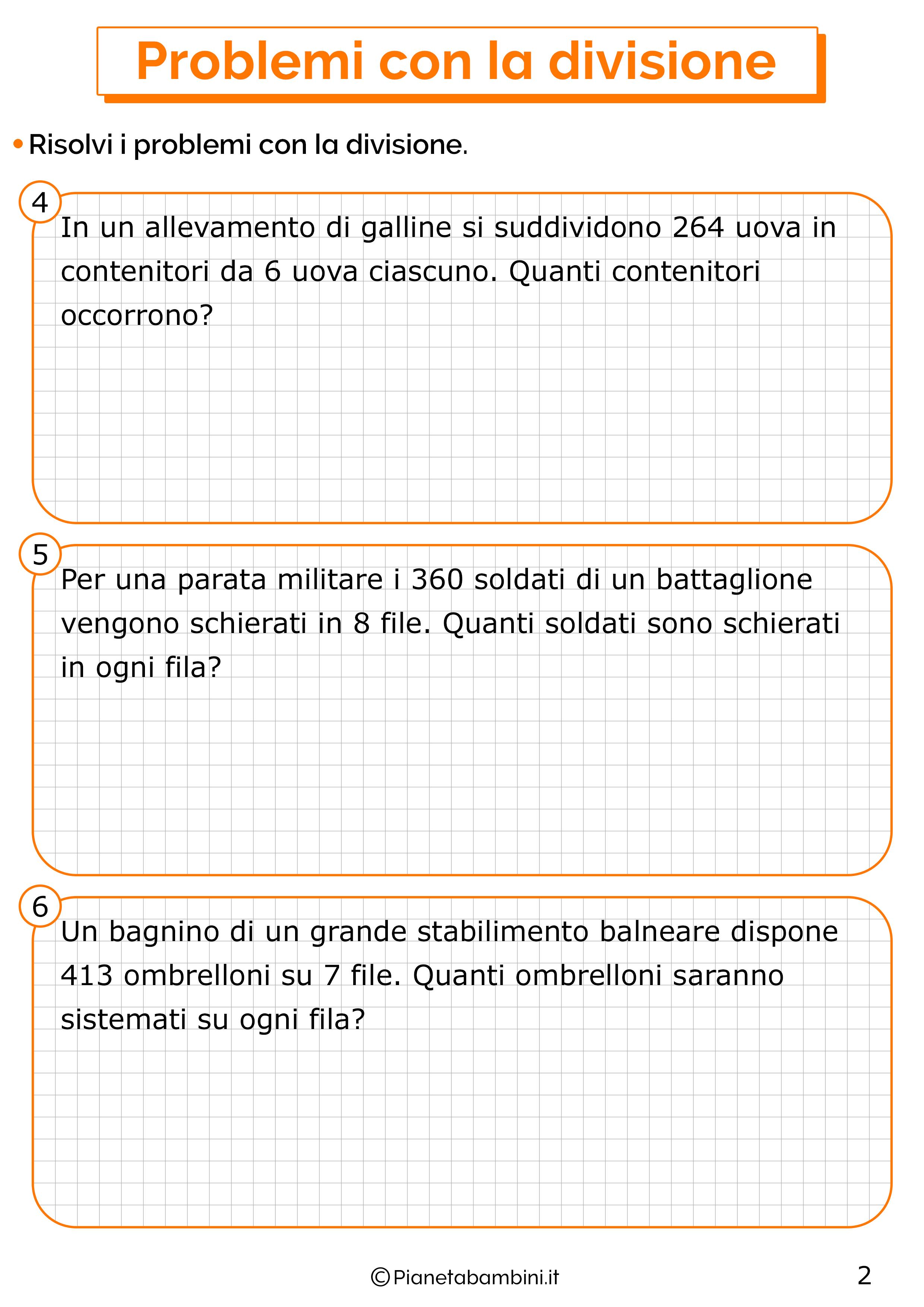 Problemi con la divisione per la classe terza 2
