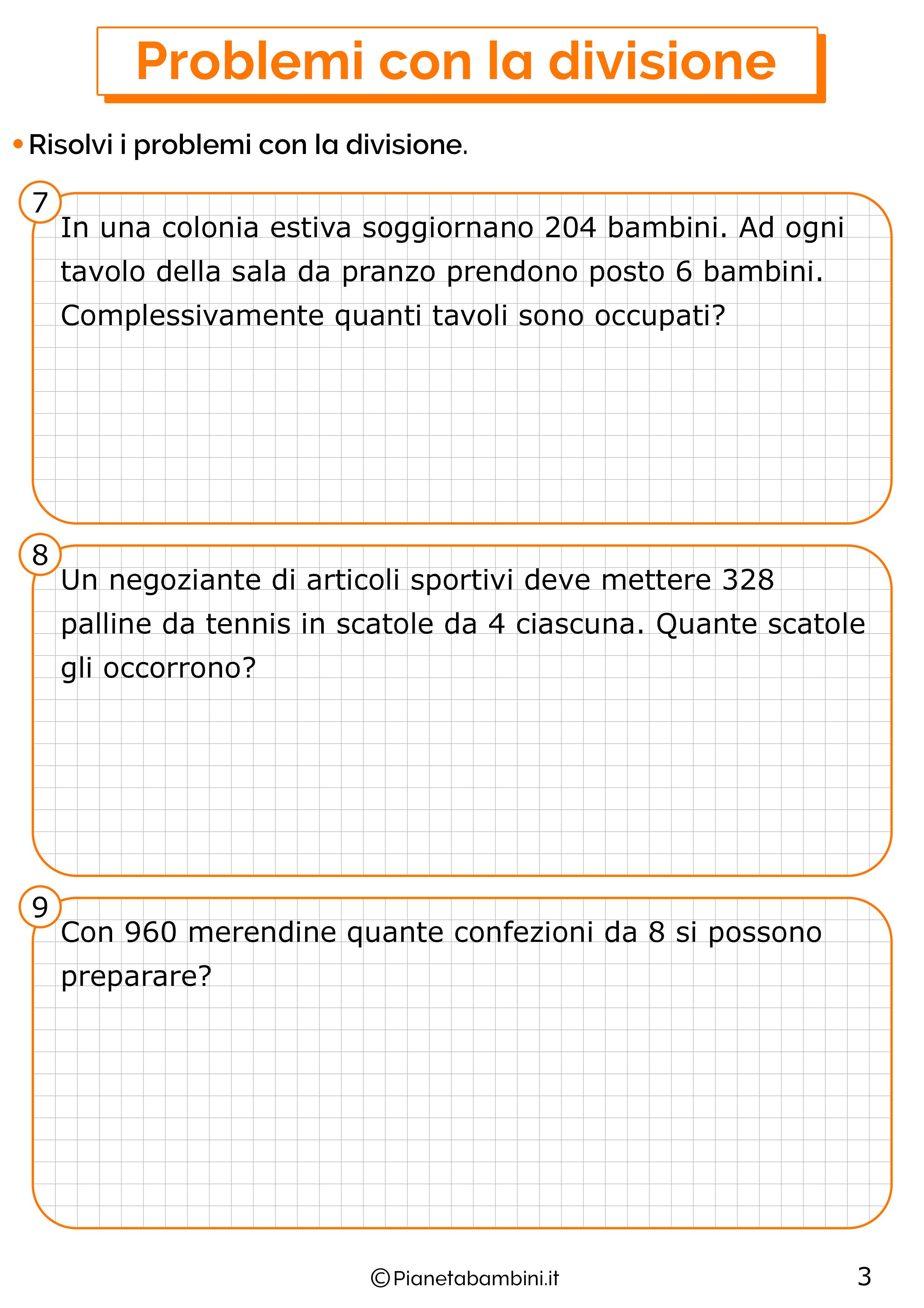 Problemi con la divisione per la classe terza 3