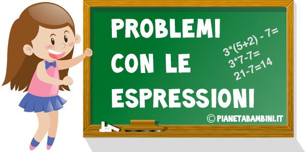 Problemi con le espressioni per la scuola primaria da stampare gratis