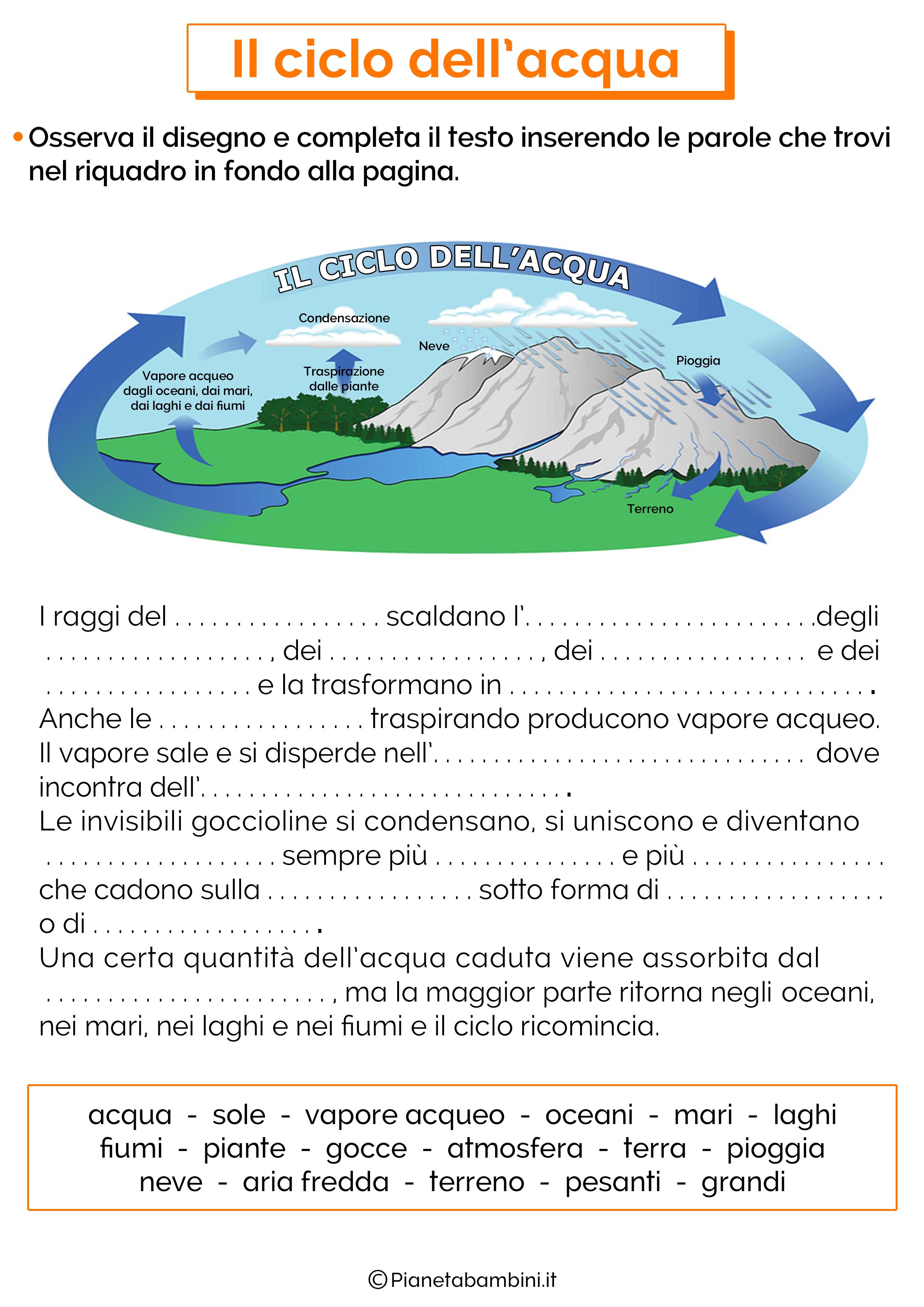 Esercizi sul ciclo dell'acqua