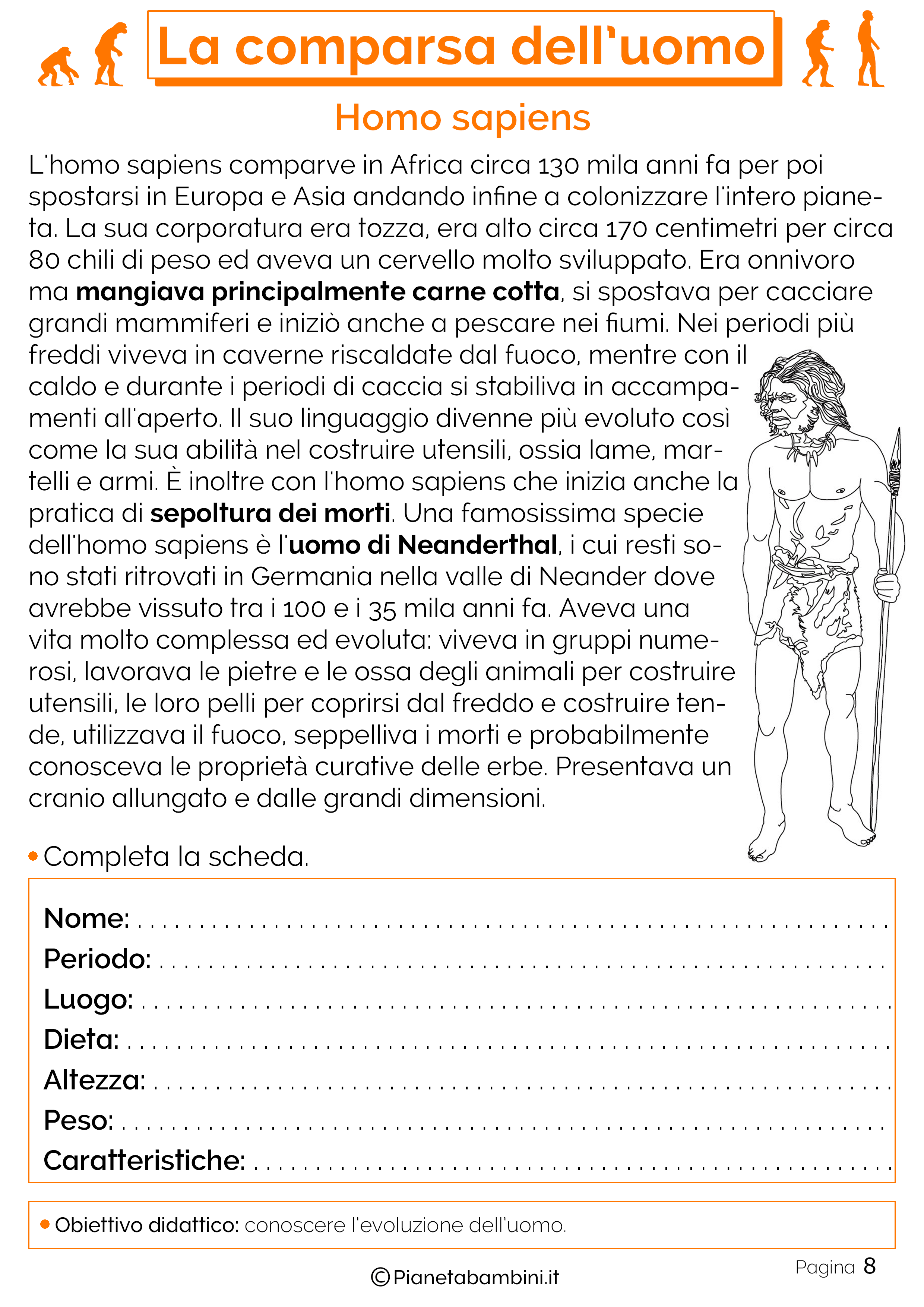 Esercizi sulla comparsa dell'uomo 8
