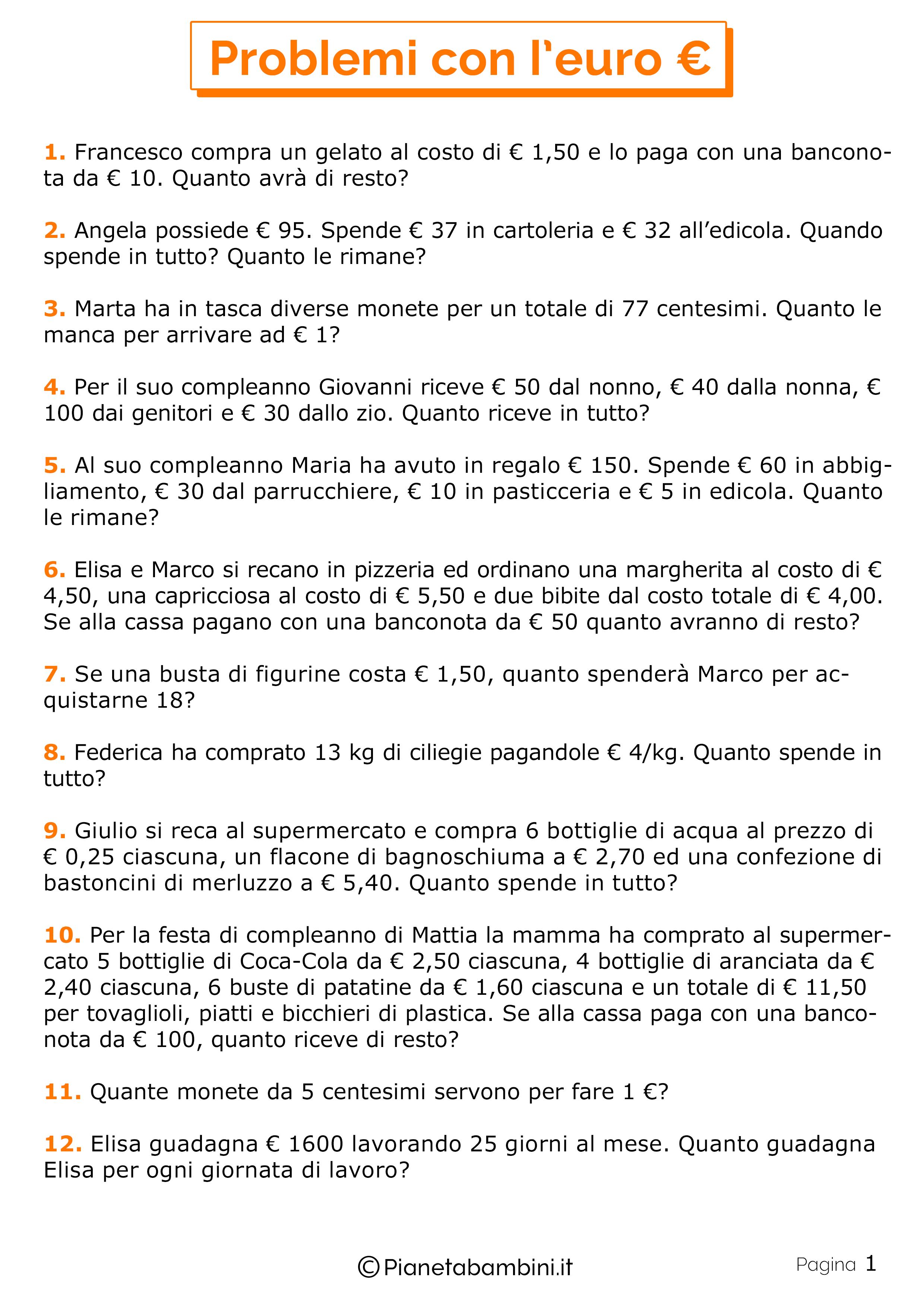 20 Problemi Con L Euro Per La Scuola Primaria Pianetabambini It