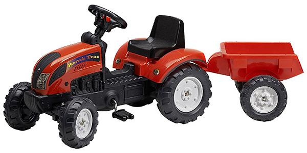 Modello di trattore a pedali Falk rosso con rimorchio per bambini