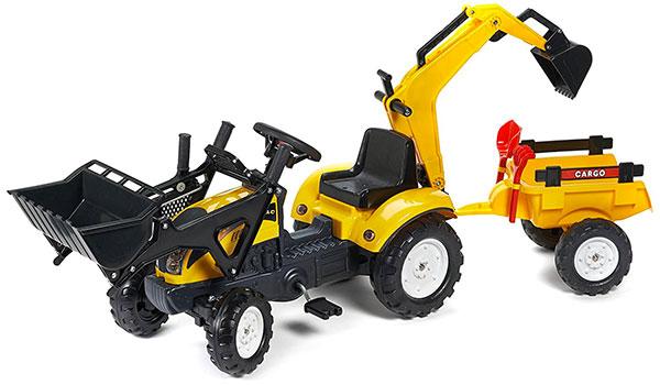 Trattore a pedali Falk con ruspa, escavatrice e rimorchio per bambini