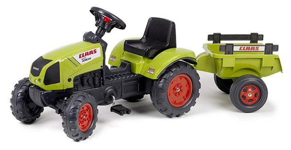 Trattore a pedali Falk verde con rimorchio per bambini