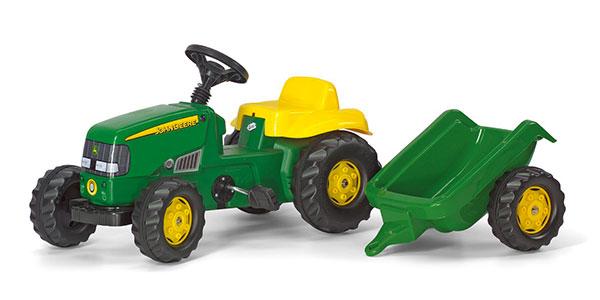 Trattore a pedali Rolly Toys verde con rimorchio per bambini