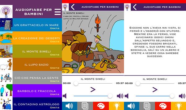 App Audiofiabe per bambini per ascoltare fiabe sonore per bambini