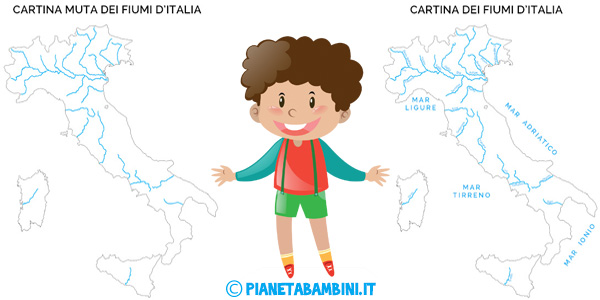 Cartina dei fiumi d'Italia in versione muta o completa