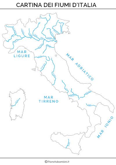 Cartina dei fiumi d'Italia completa da stampare