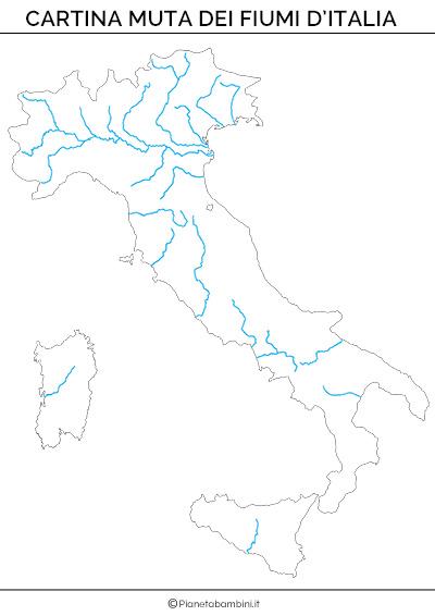Cartina muta dei fiumi d'Italia da stampare