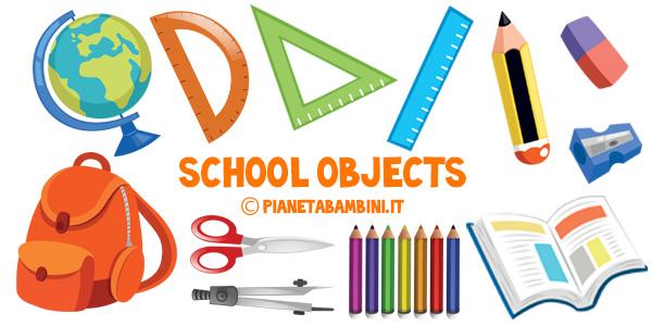 Esercizi e flashcard sugli oggetti scolastici in inglese per la scuola primaria da stampare gratis