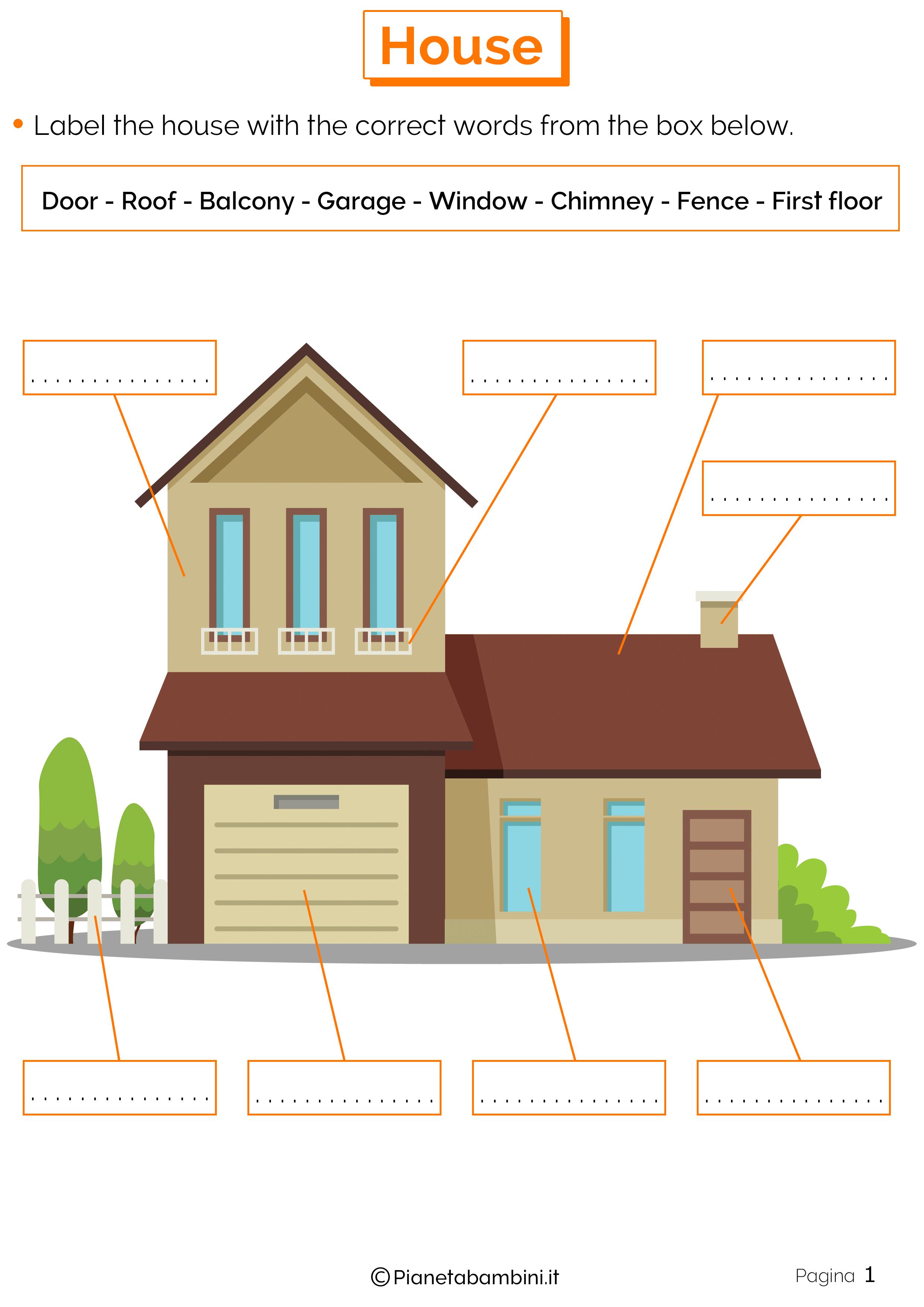 Vocaboli della casa in inglese esercizi per la scuola for Piani di casa padronale inglese