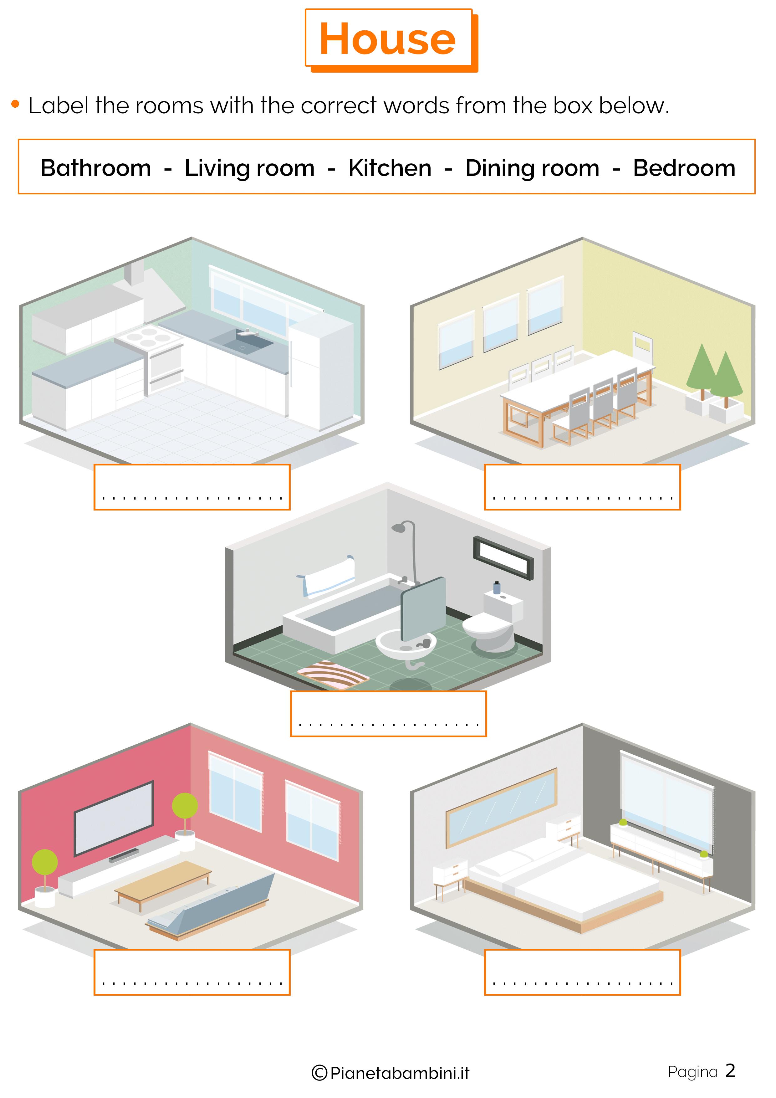 Vocaboli della casa in inglese esercizi per la scuola for Disegni mobili casa
