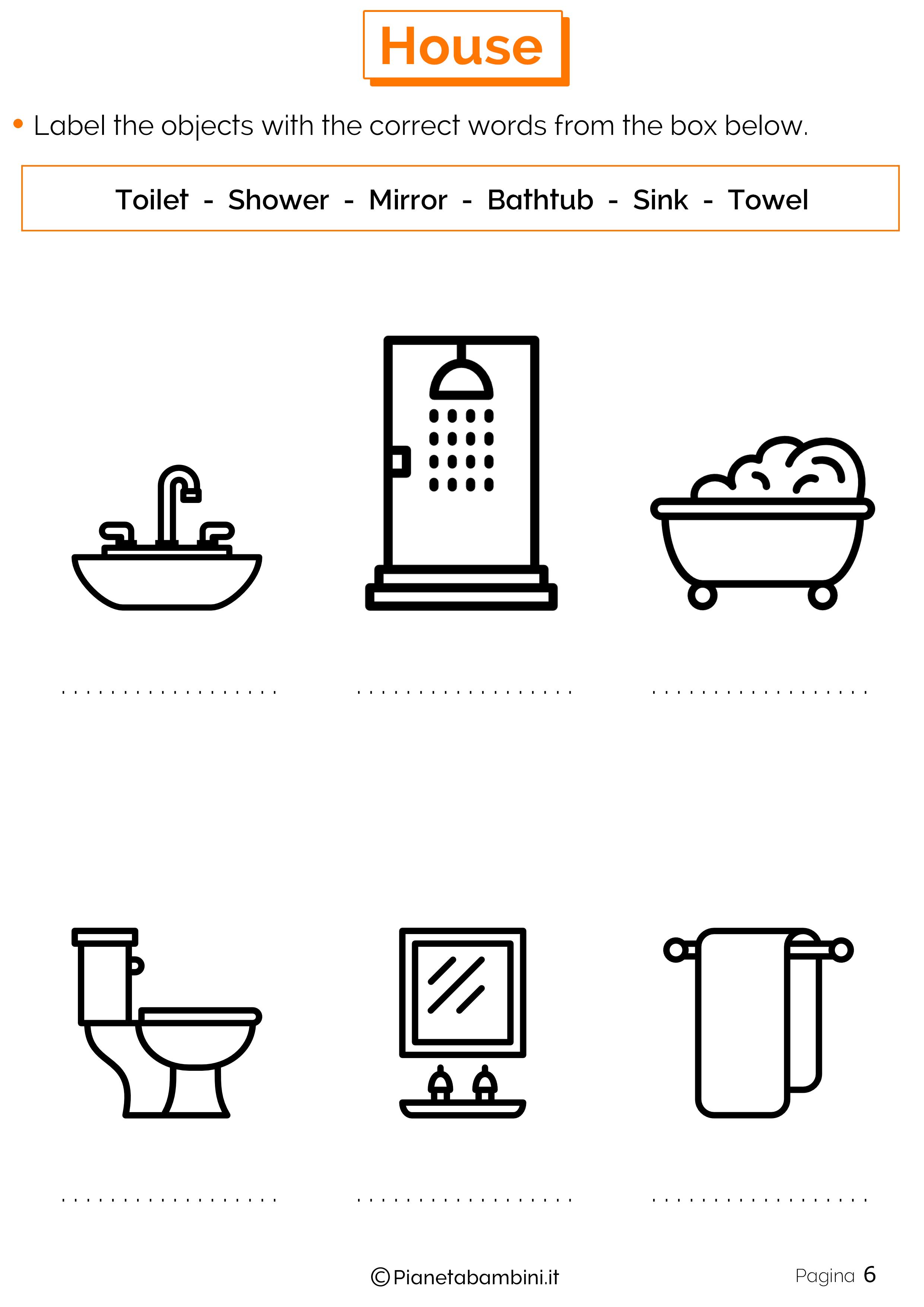 Vocaboli della casa in inglese esercizi per la scuola for Casa immagini da colorare