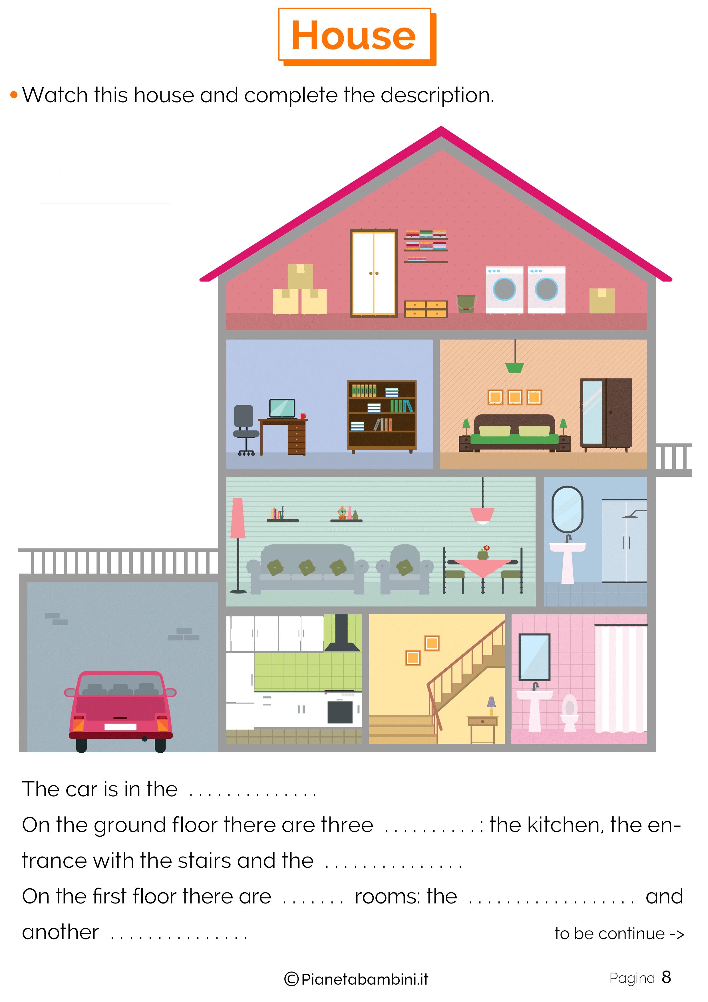 vocaboli della casa in inglese esercizi per la scuola