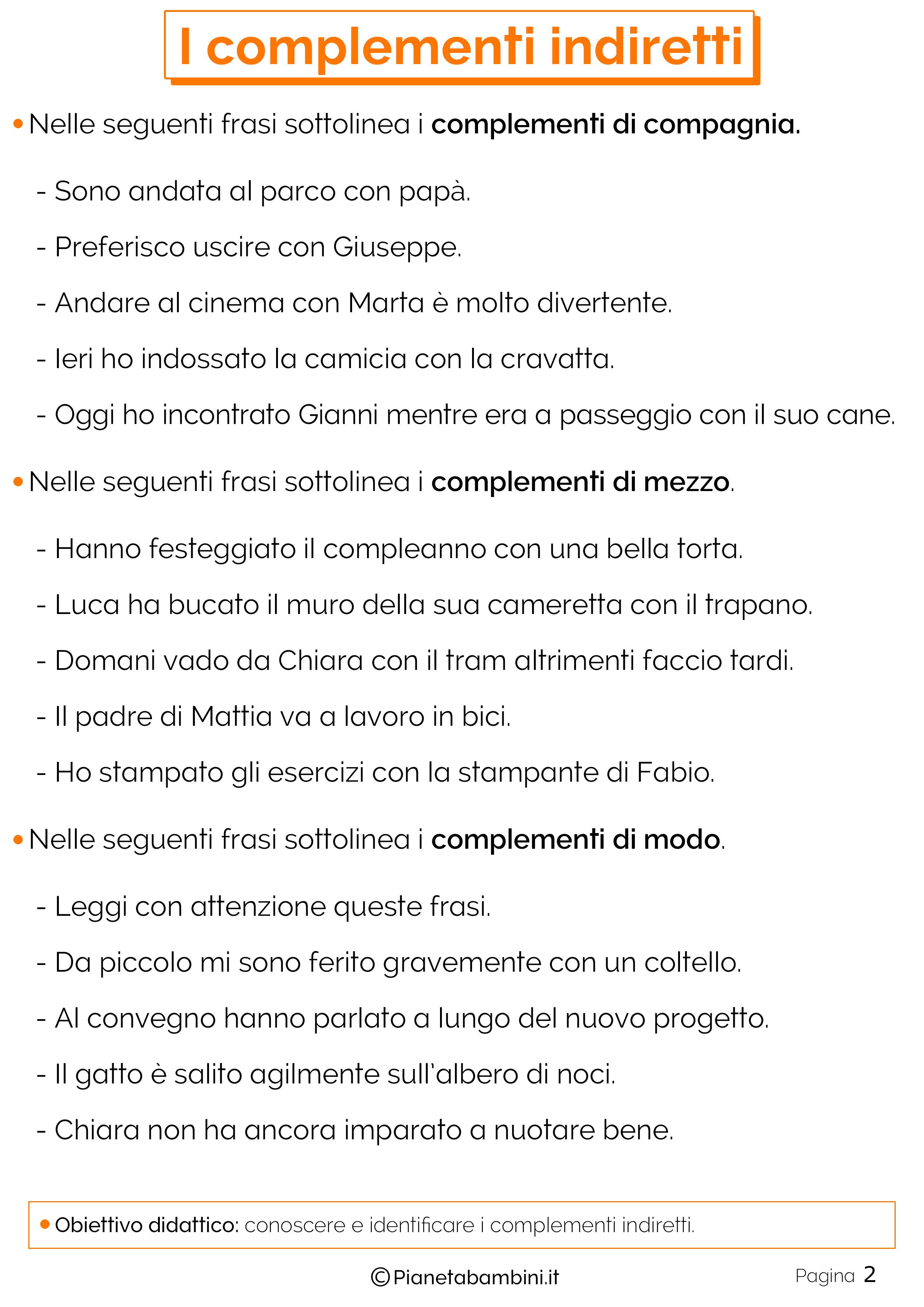 Esercizi sui complementi indiretti n.2