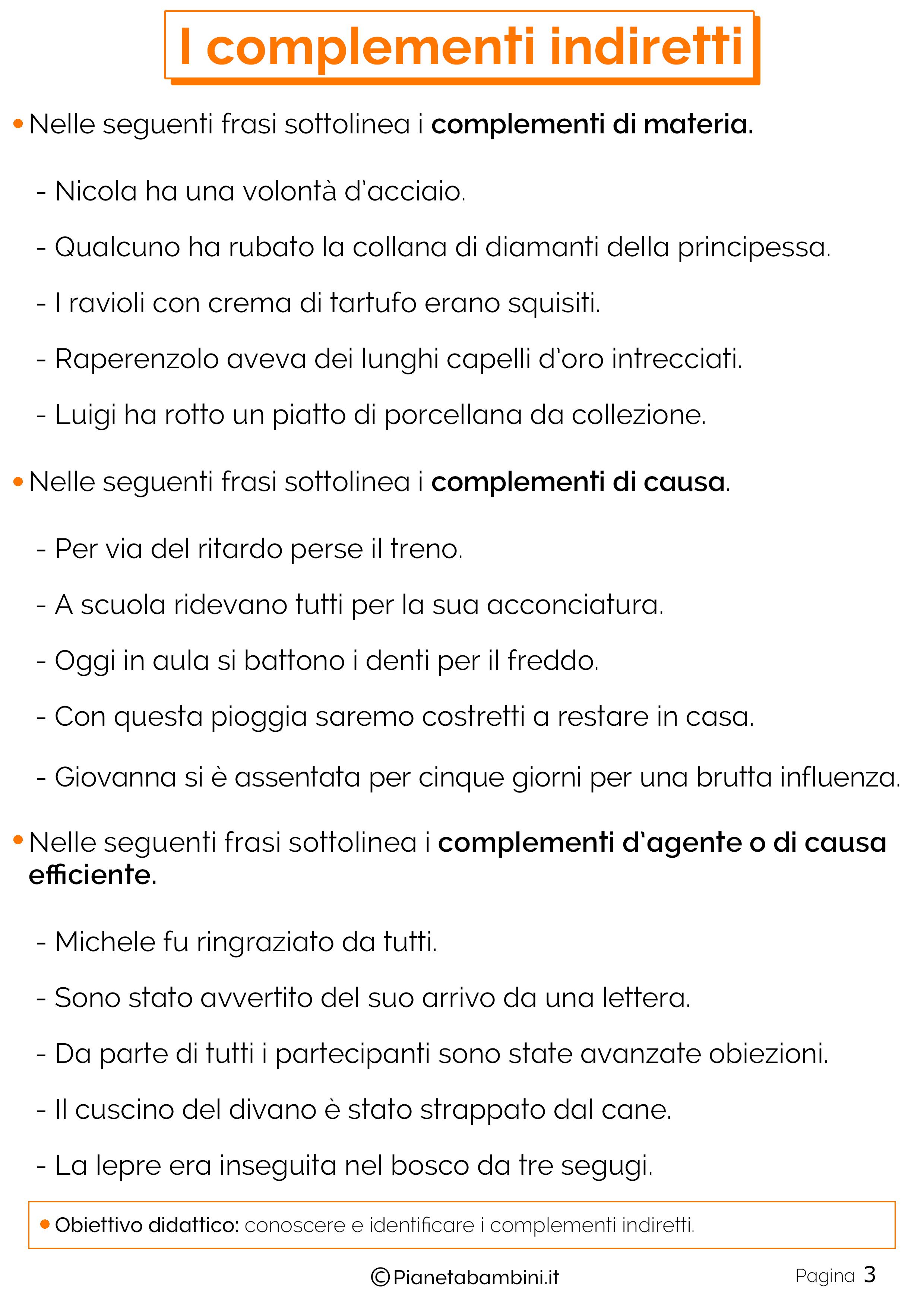 Esercizi sui complementi indiretti n.3