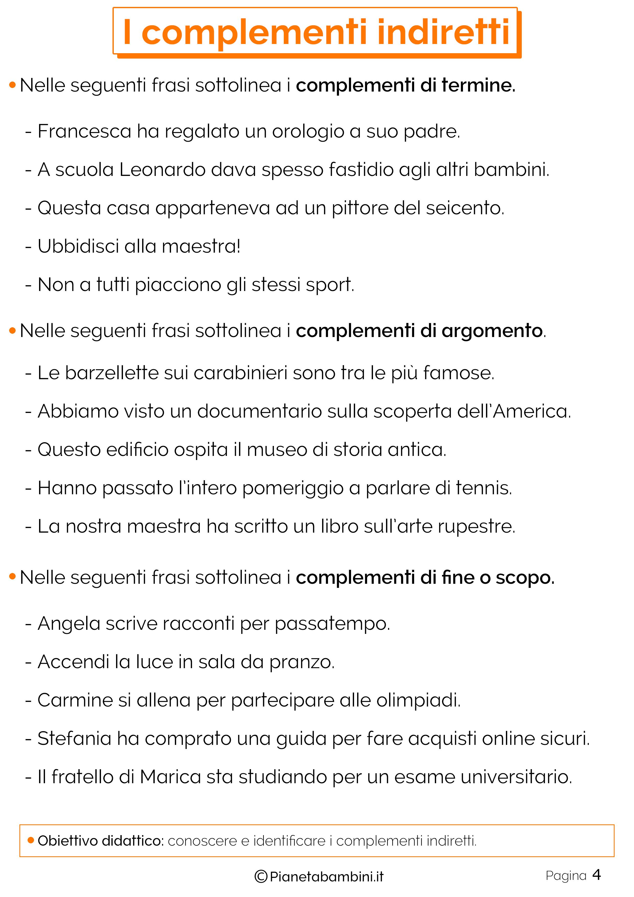 Esercizi sui complementi indiretti n.4