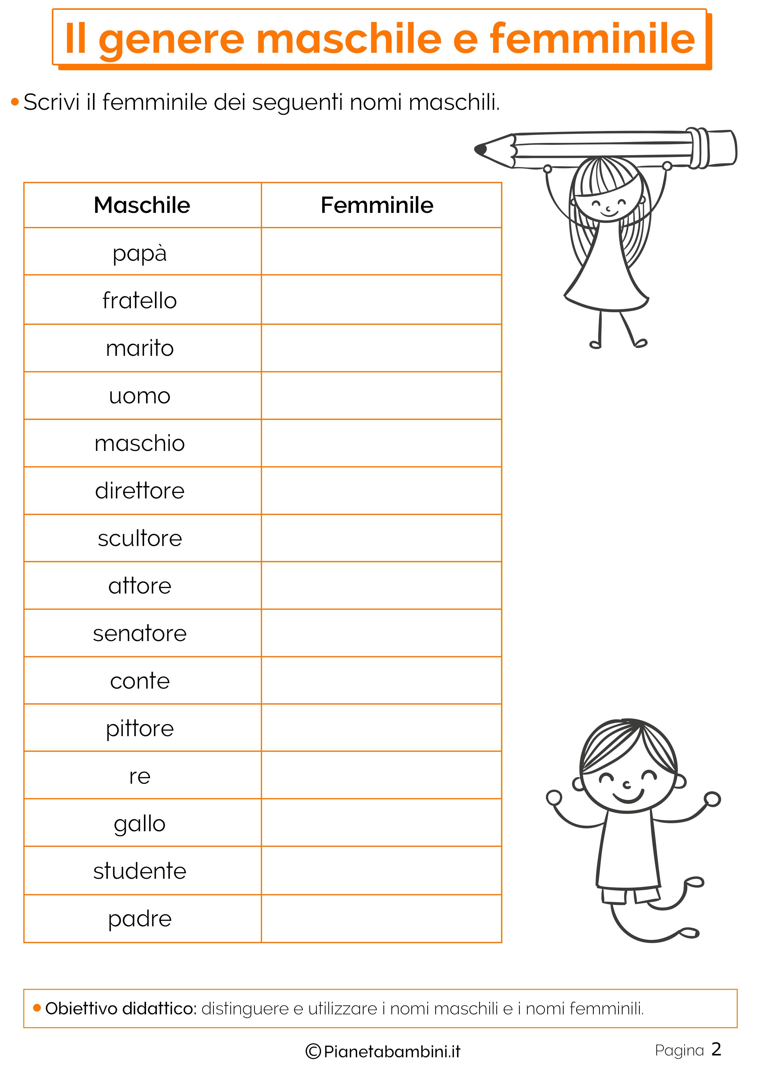 Esercizi sul genere maschile e femminile 2