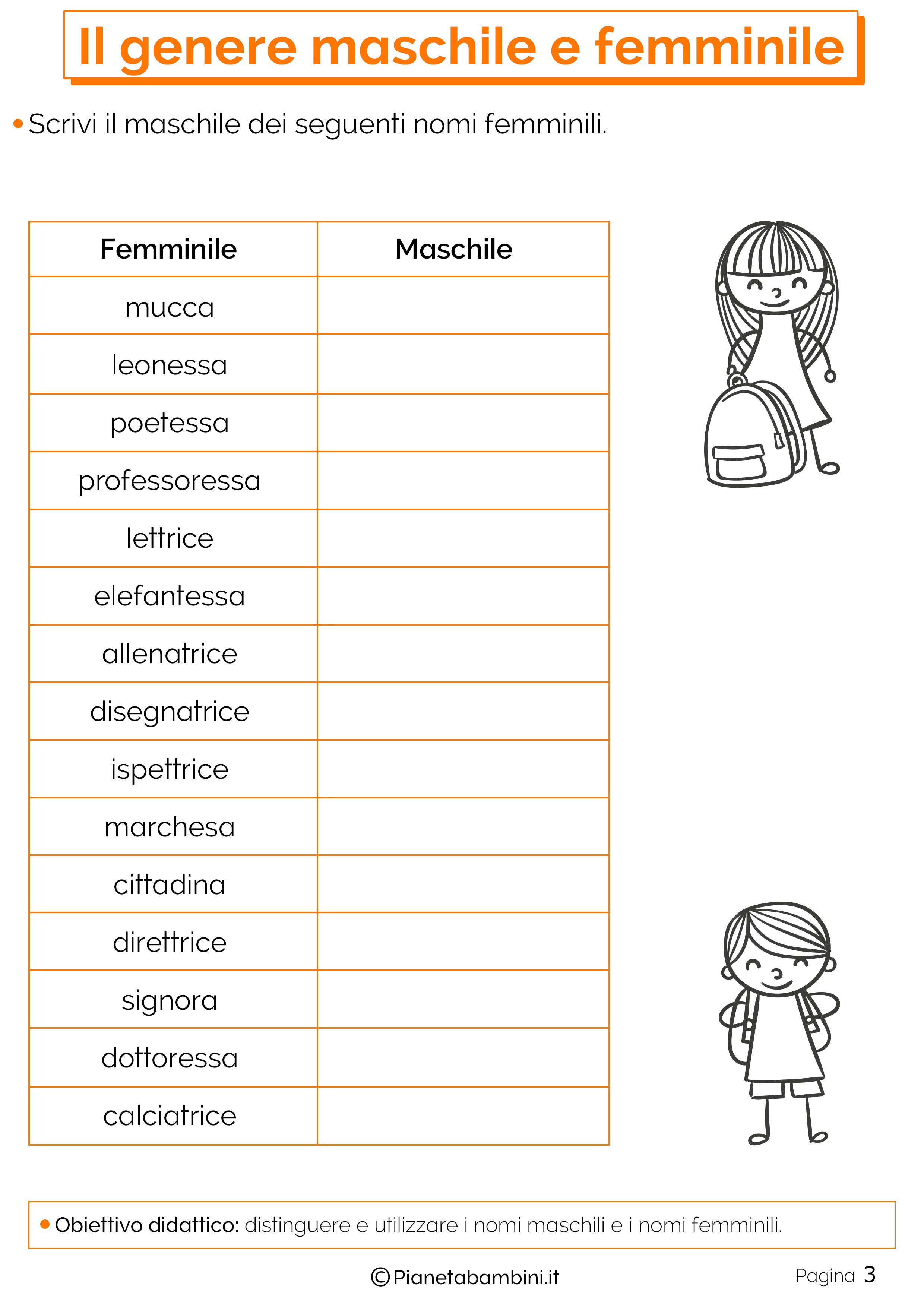Il genere maschile e femminile esercizi per la scuola for Maschile e femminile esercizi