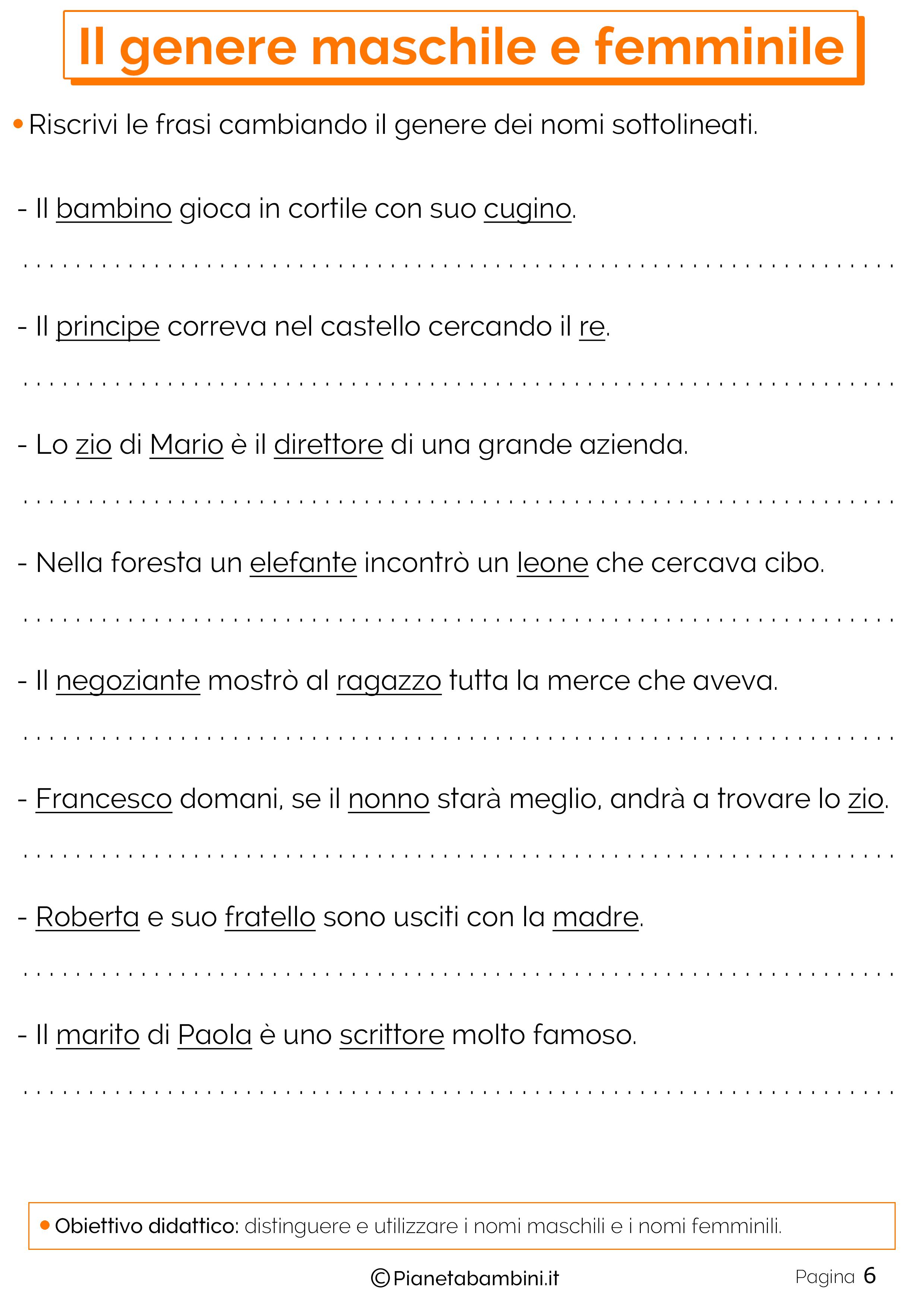Scheda didattica sul genere dei nomi 06