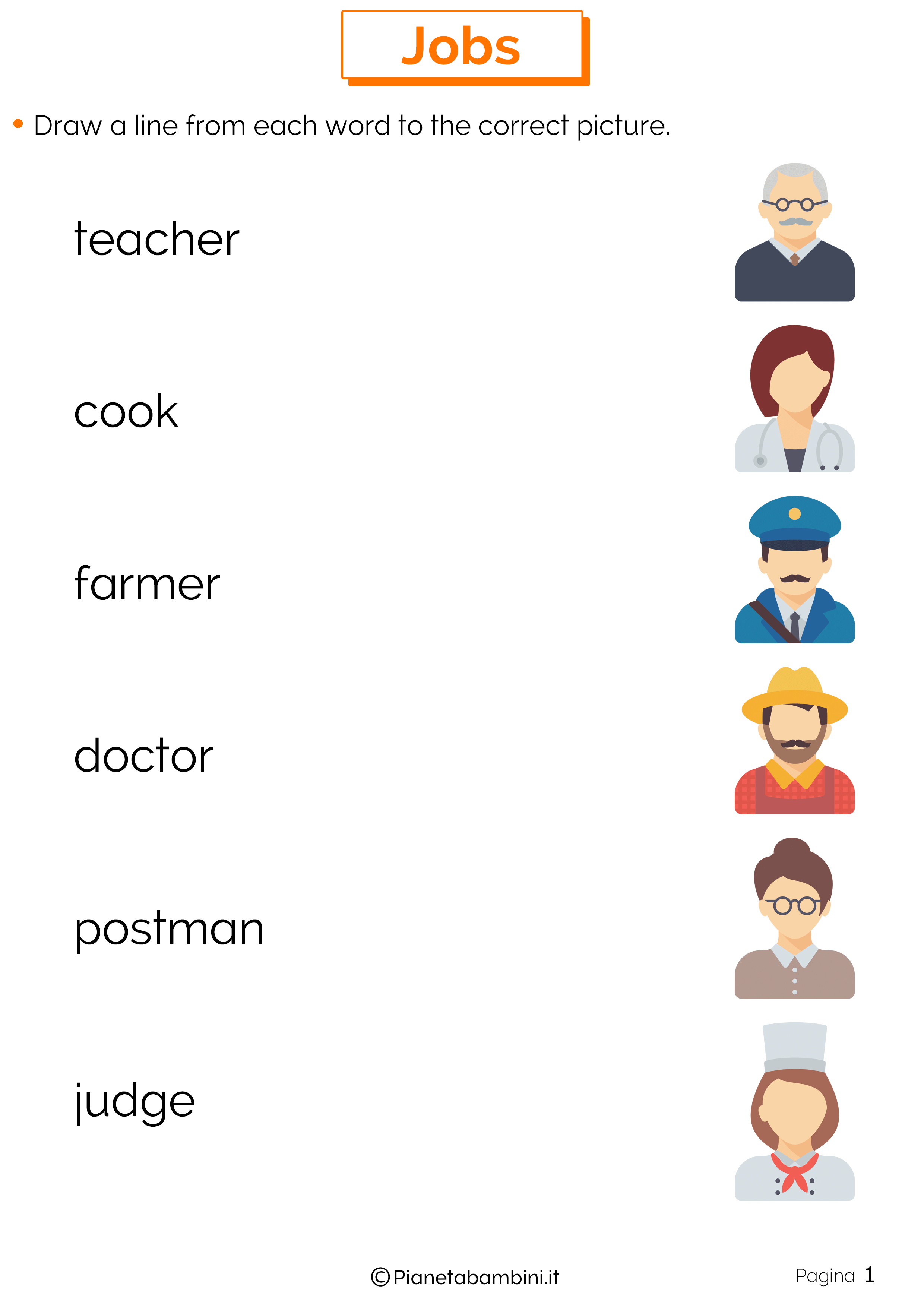 Scheda didattica sui mestieri in inglese 01