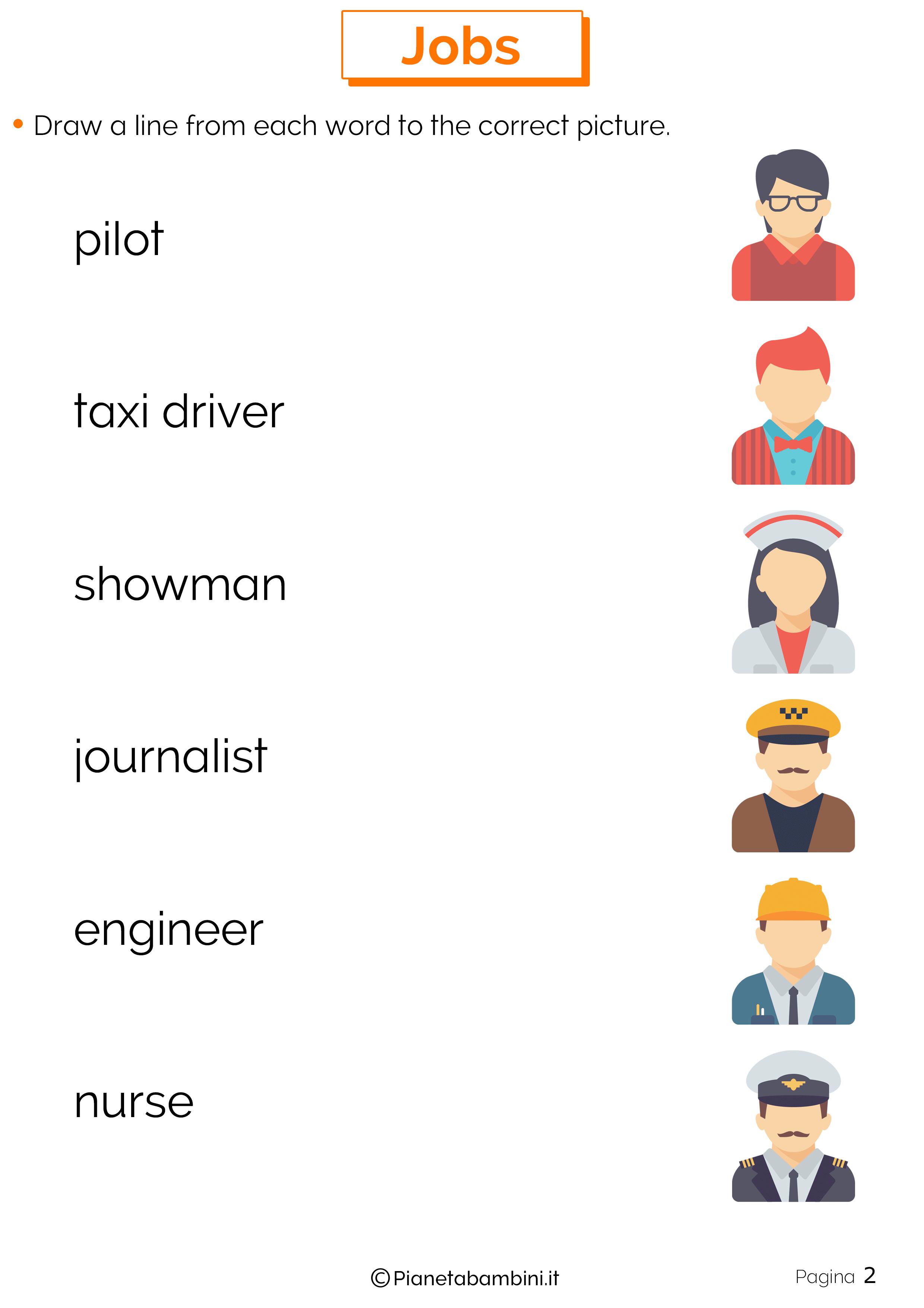 Scheda didattica sui mestieri in inglese 02