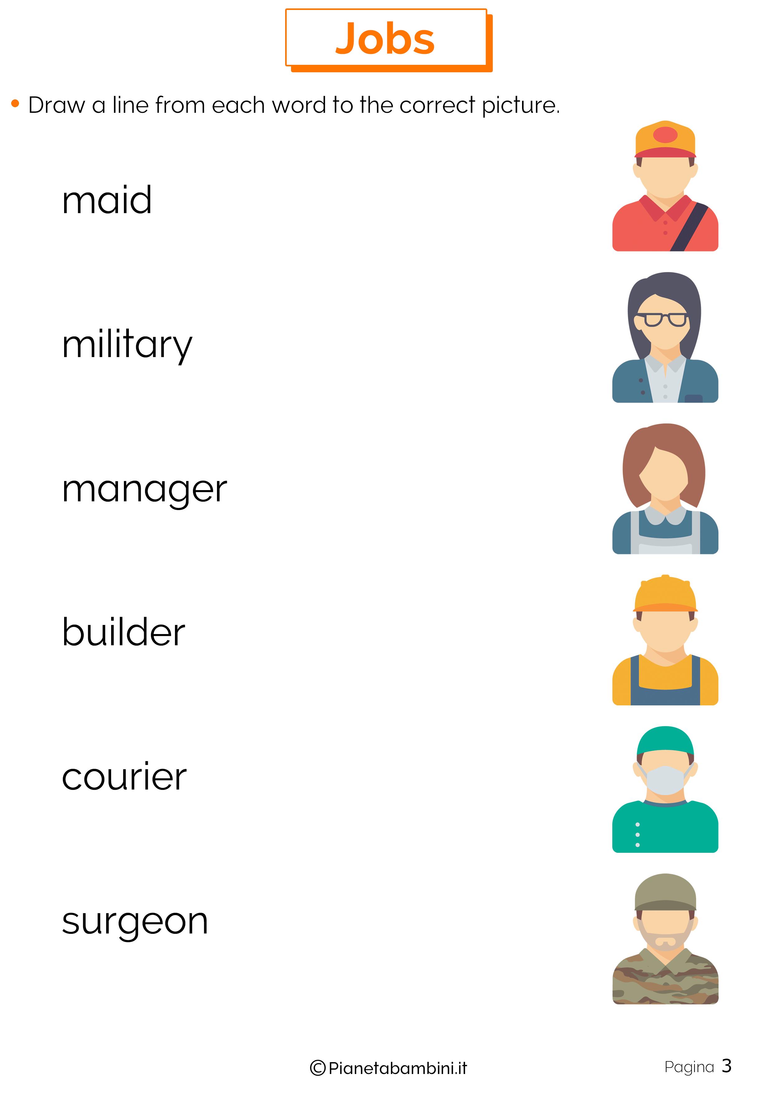 Scheda didattica sui mestieri in inglese 03