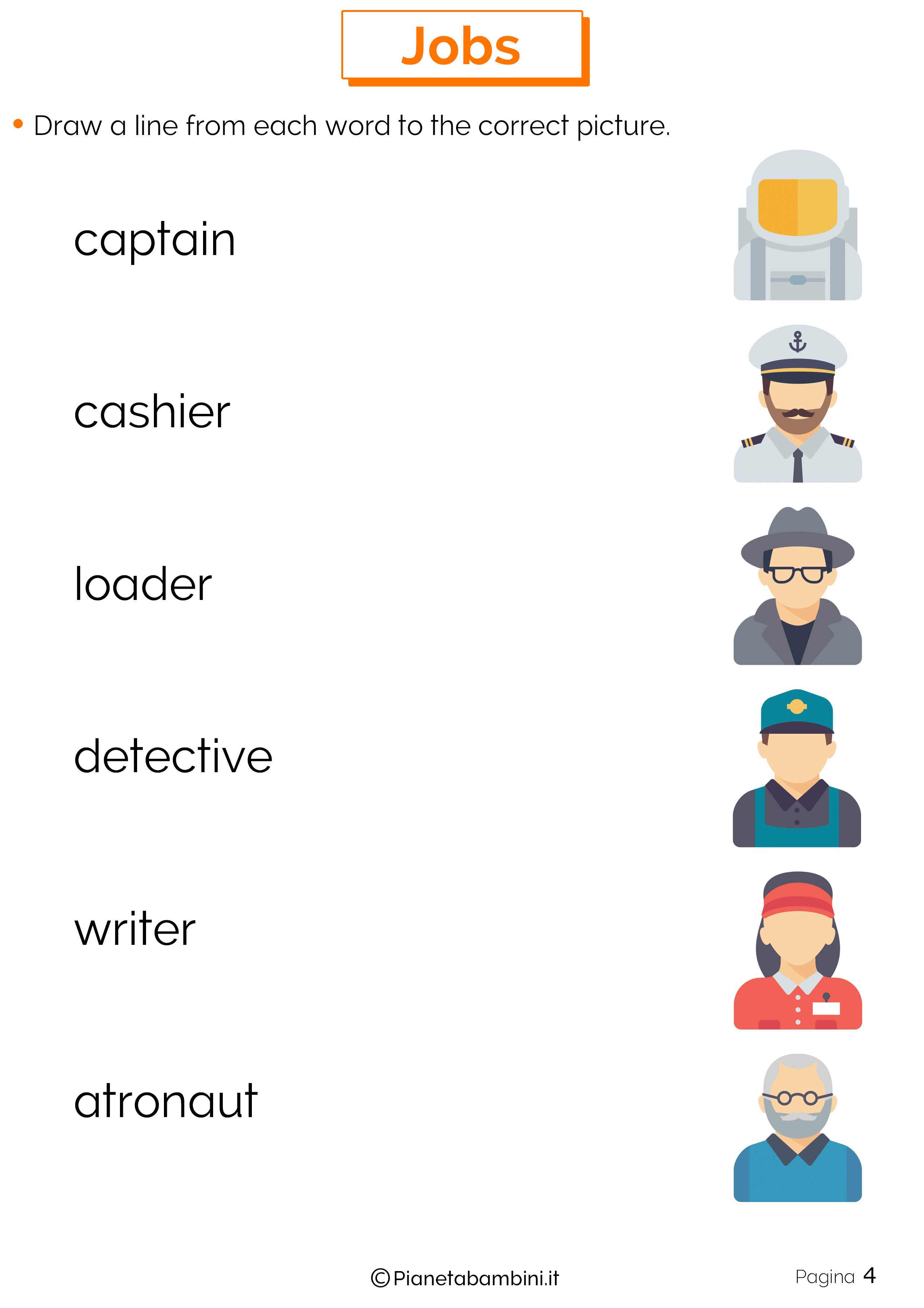 Scheda didattica sui mestieri in inglese 04