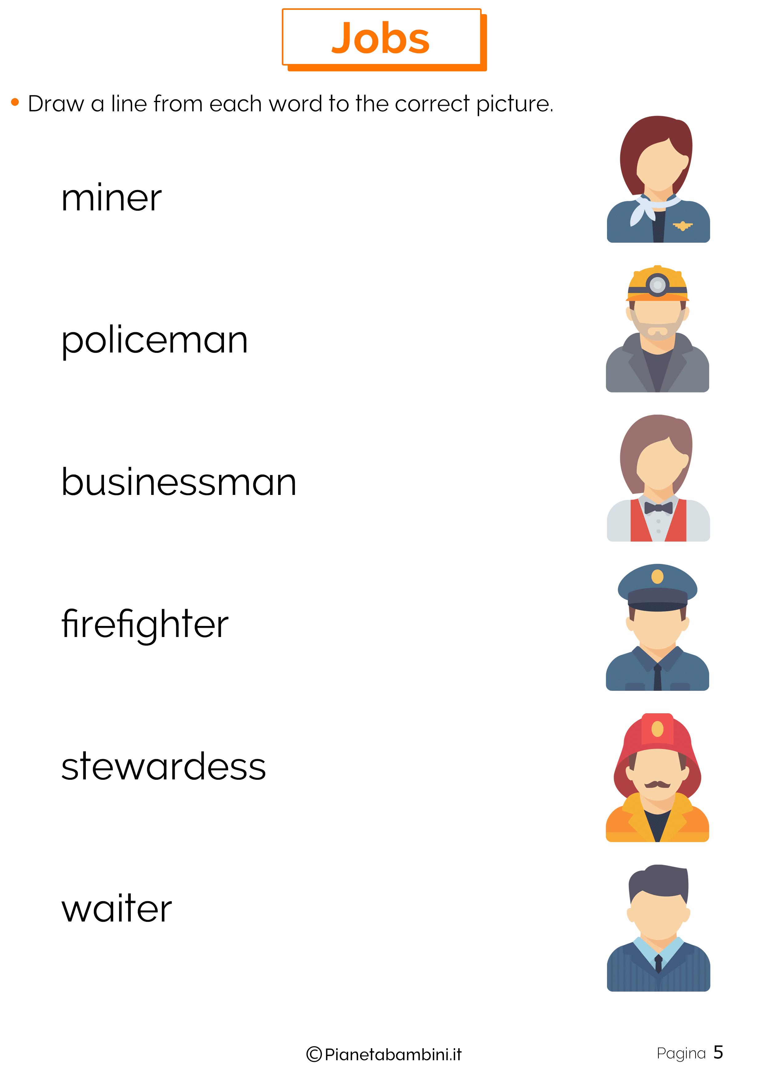 Scheda didattica sui mestieri in inglese 05