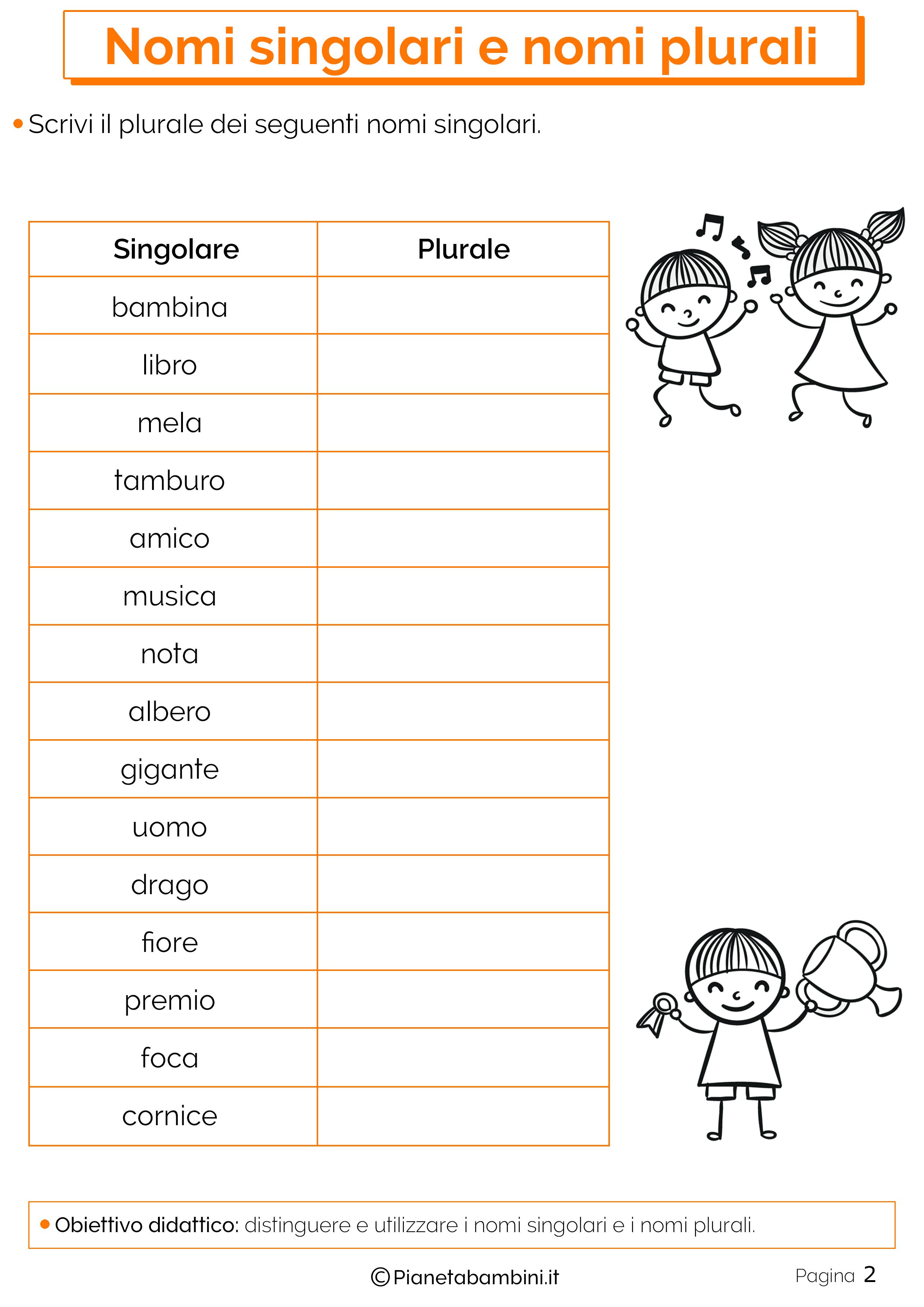 Esercizi sui nomi singolari e plurali 2