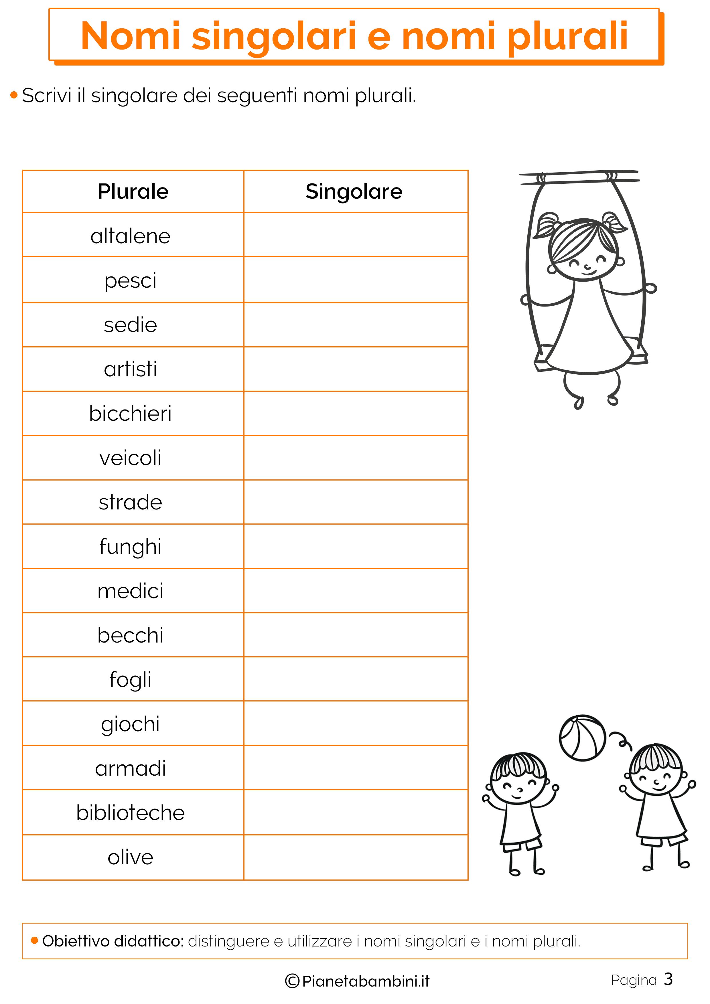 Esercizi sui nomi singolari e plurali 3