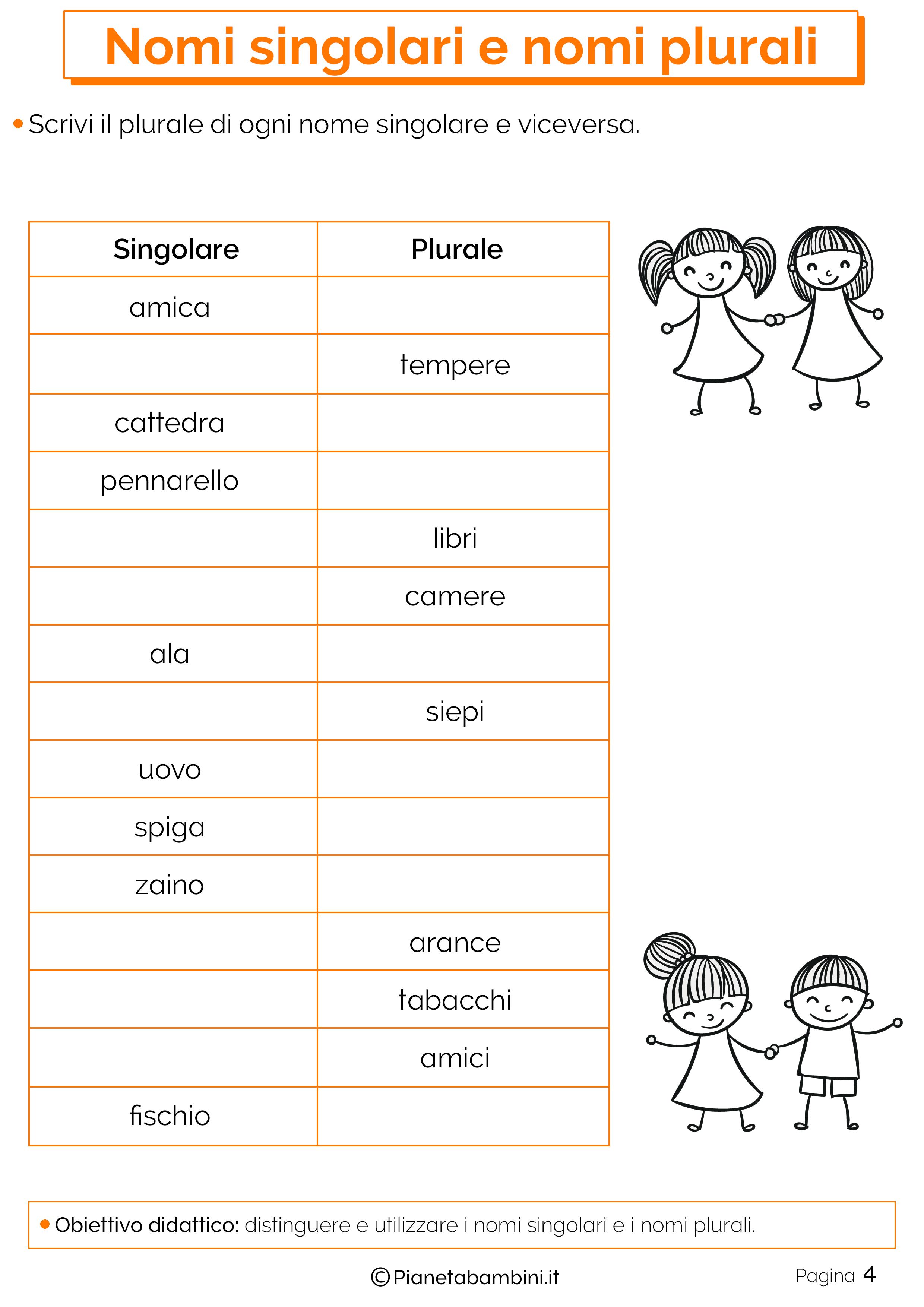 Esercizi sui nomi singolari e plurali 4