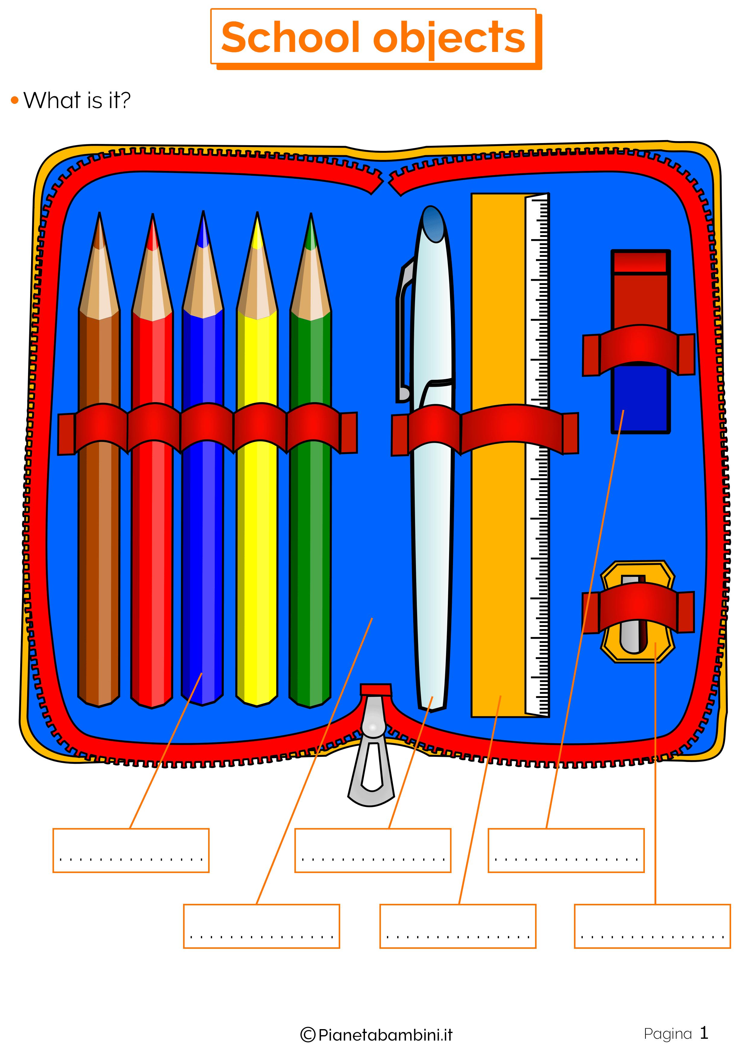 Esercizi sugli oggetti scolastici in inglese 1