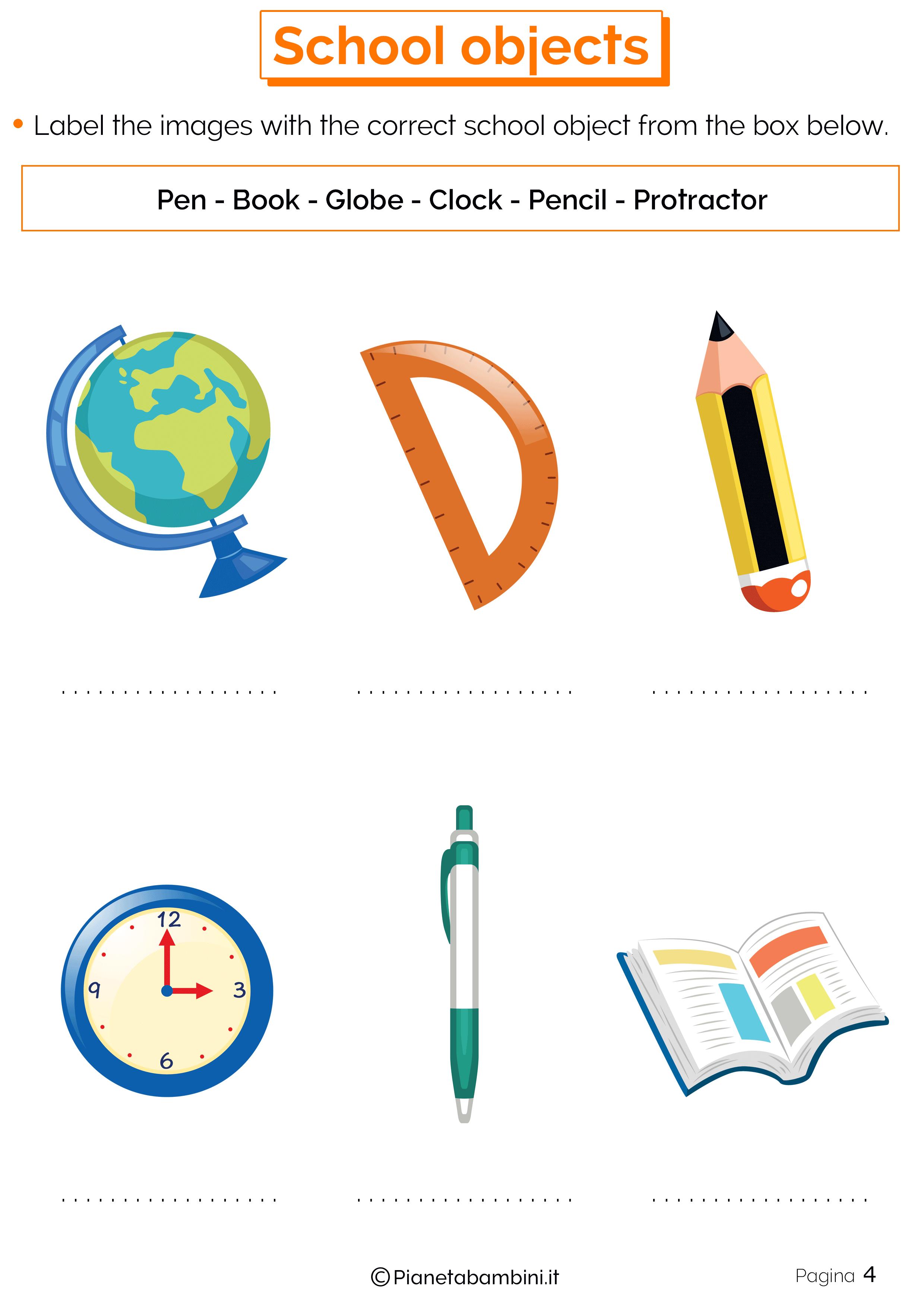 Esercizi sugli oggetti scolastici in inglese 4