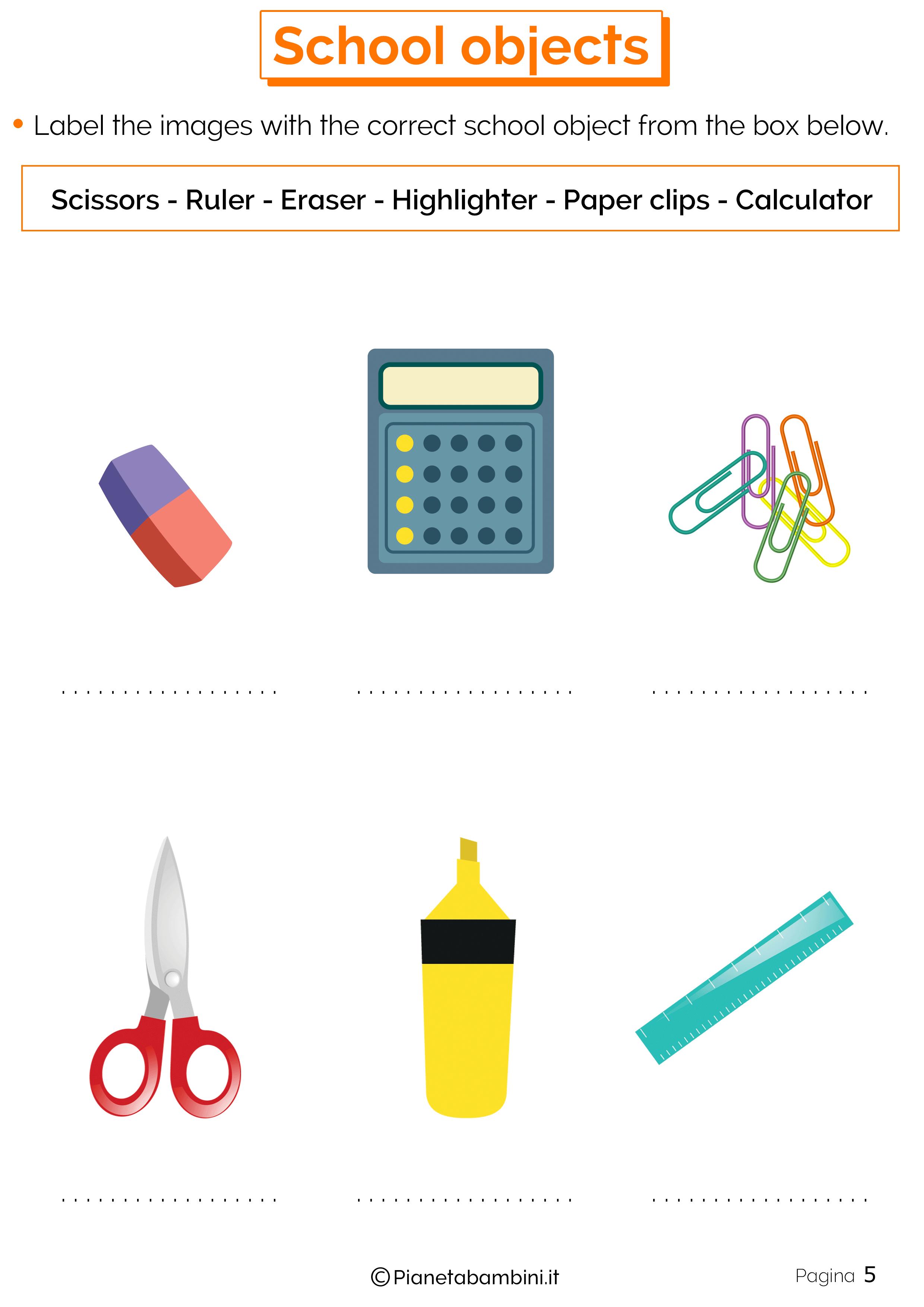 Esercizi sugli oggetti scolastici in inglese 5