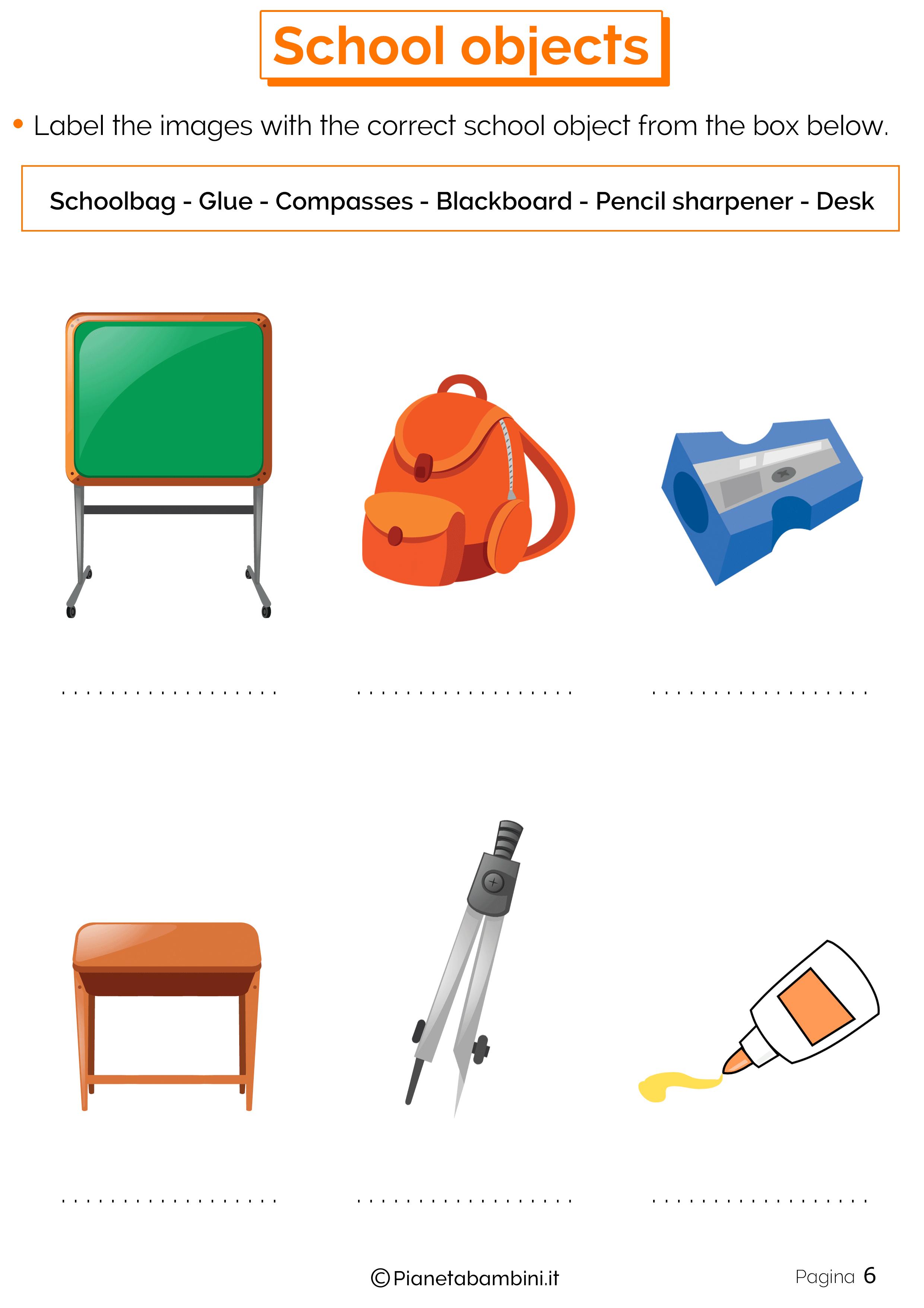 Esercizi sugli oggetti scolastici in inglese 6