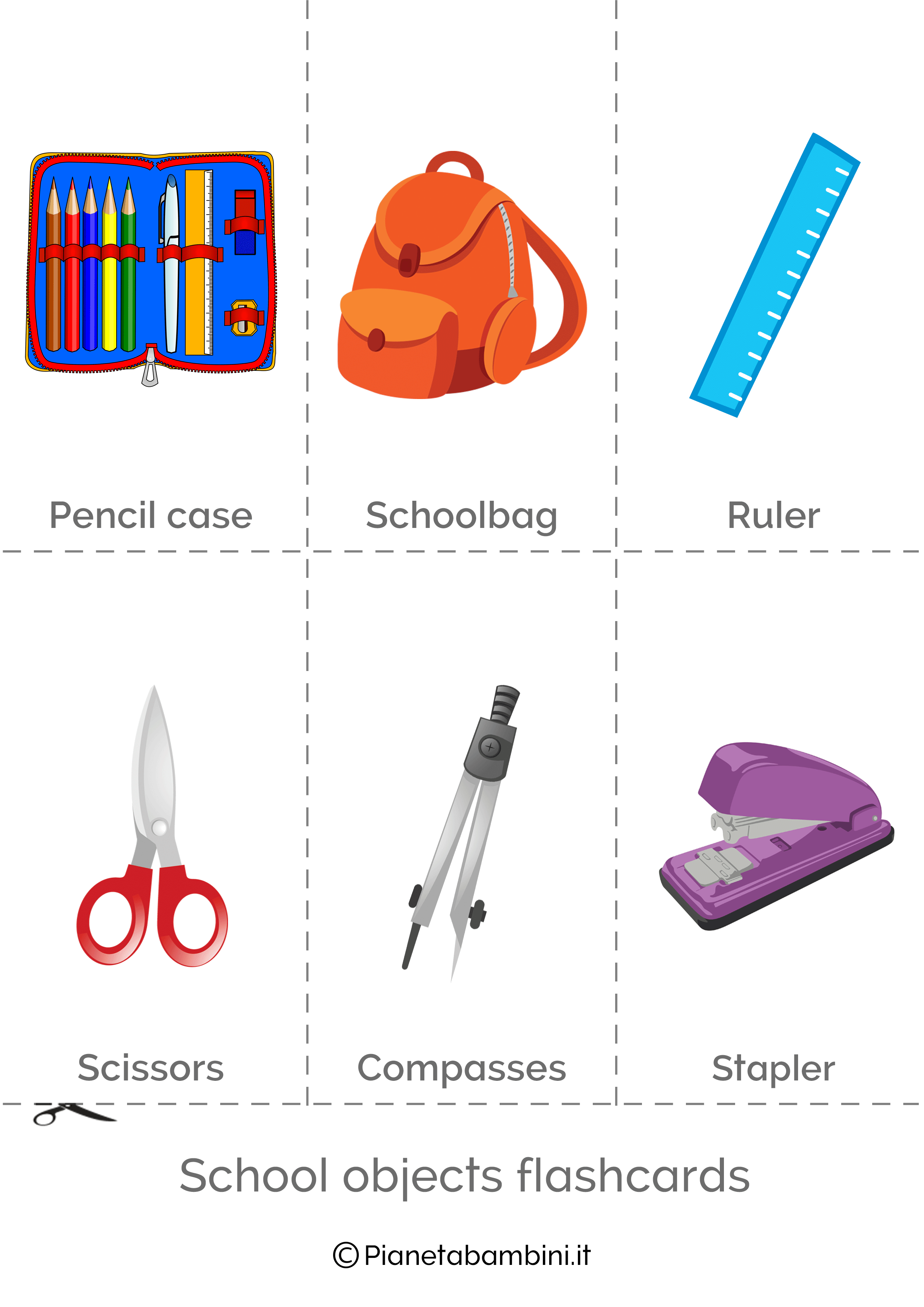 Flashcard degli oggetti in inglese 2