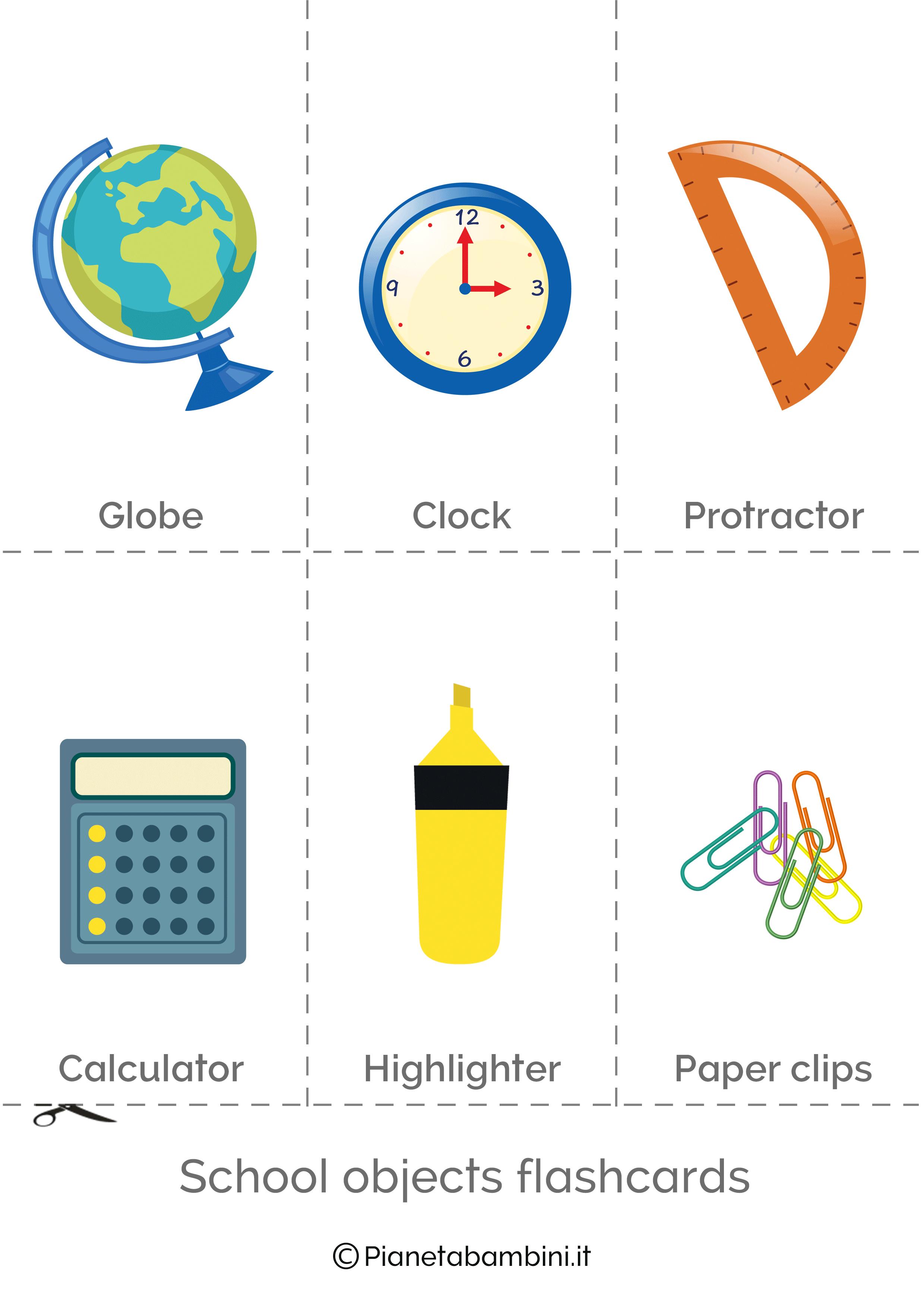 Flashcard degli oggetti in inglese 3