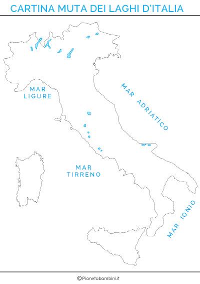 Cartina muta dei laghi d'Italia da stampare gratis