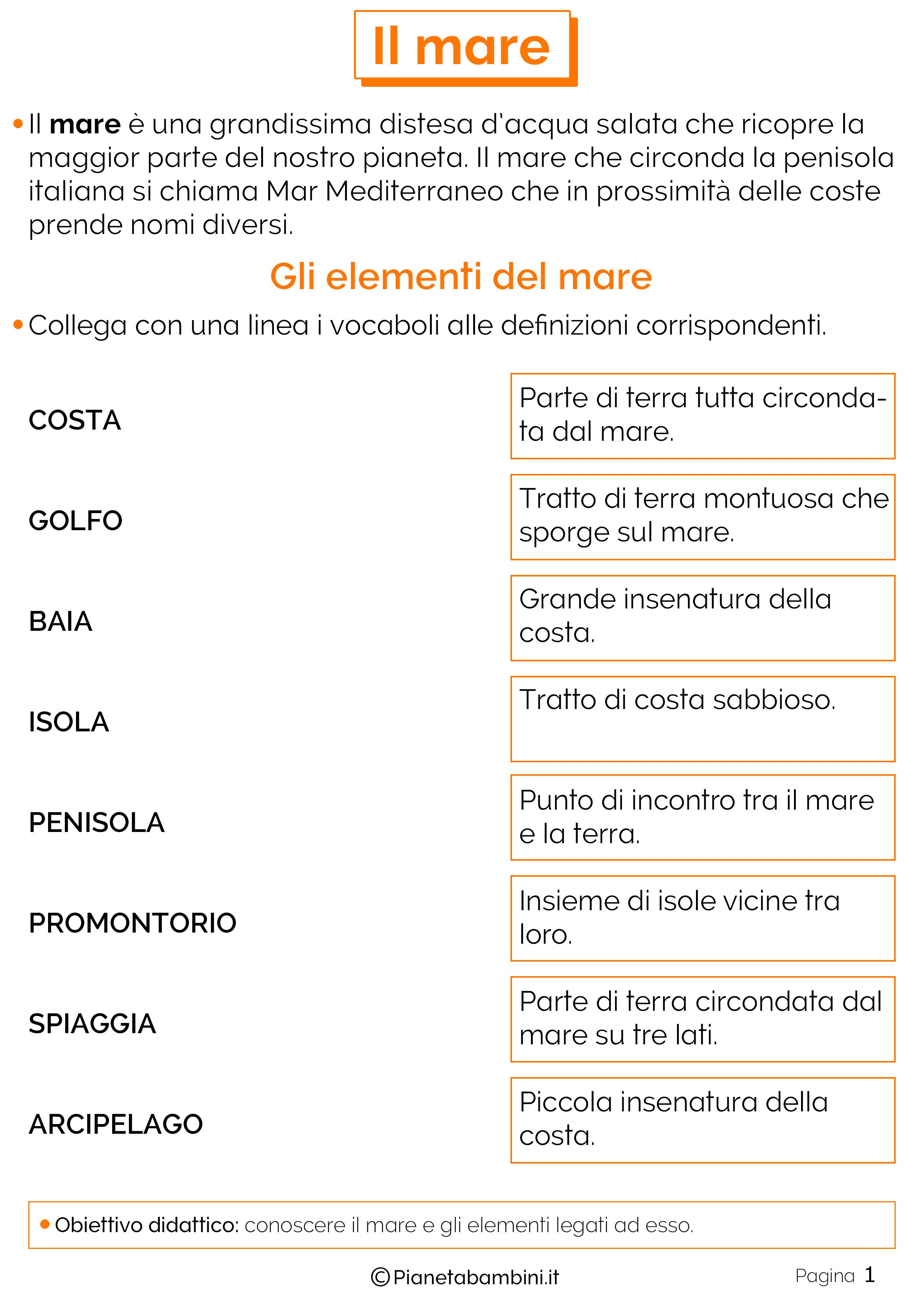 Eccezionale Il Mare: Schede Didattiche per la Scuola Primaria | PianetaBambini.it CB26