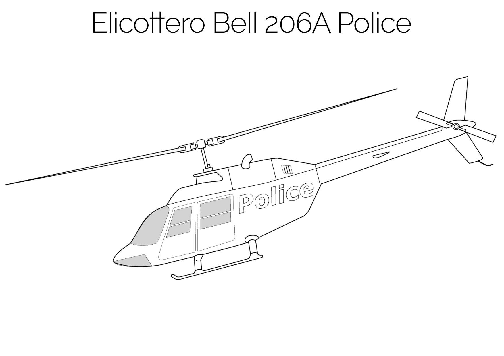 Elicottero da colorare Bell 206A Police