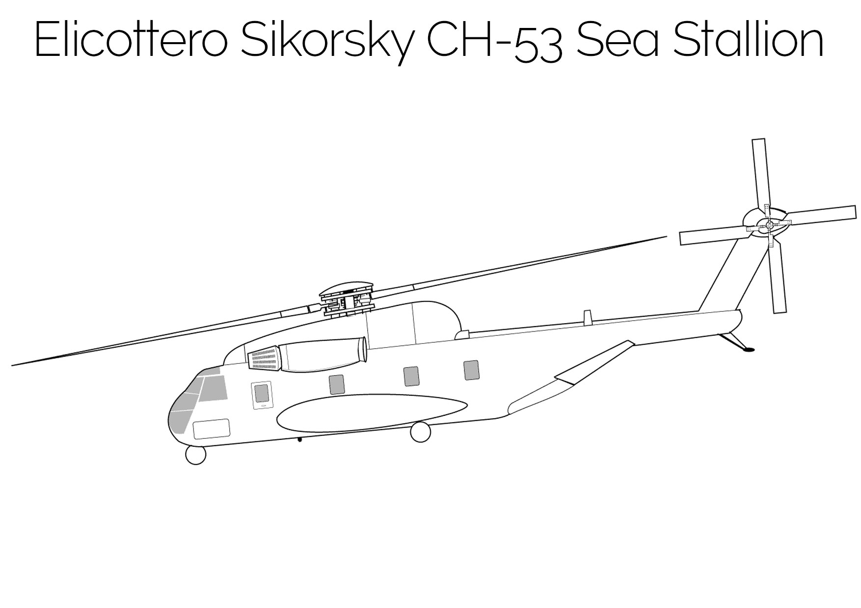 Elicottero da colorare Sikorsky CH 53 Sea Stallion