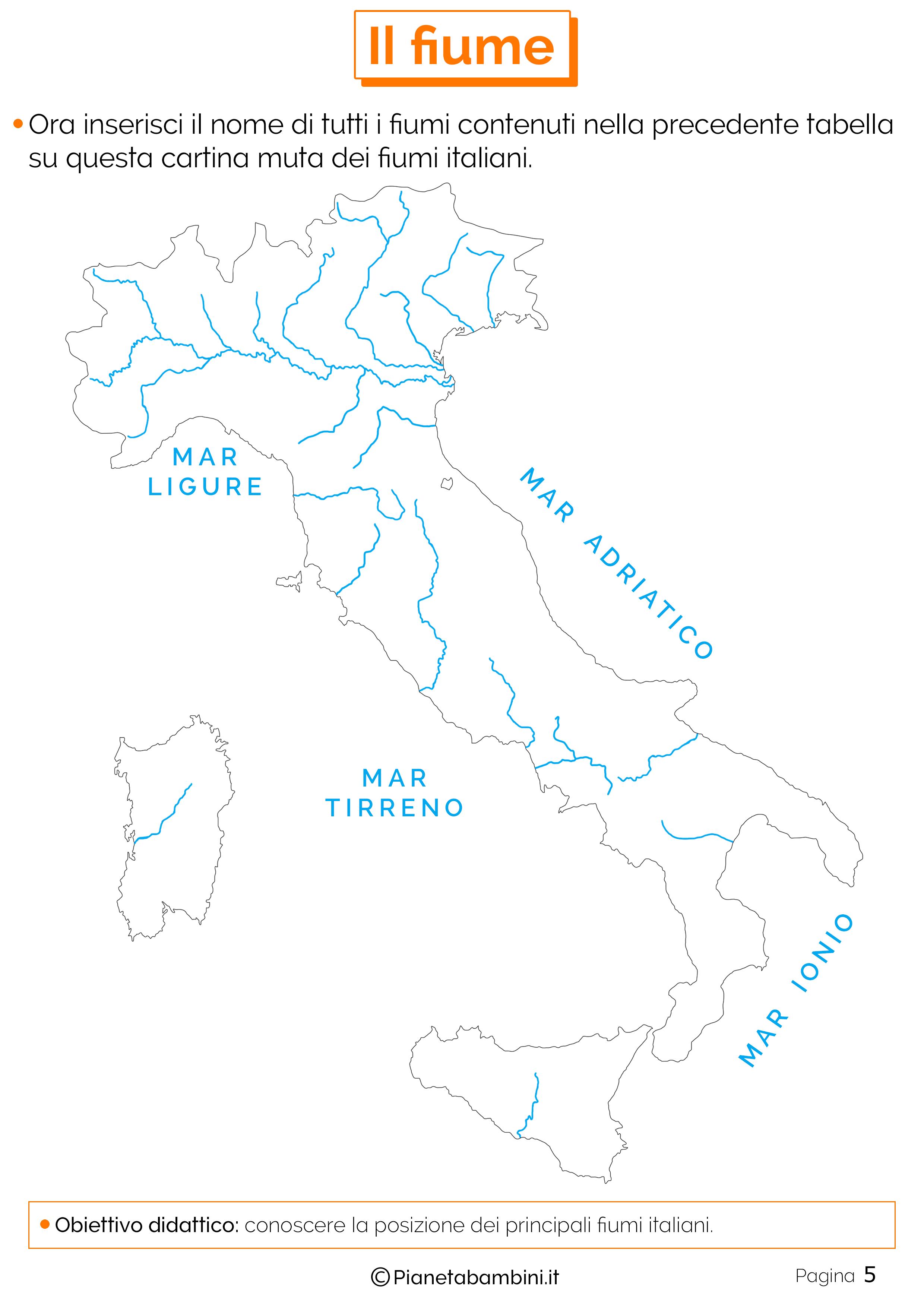 Cartina dei fiumi da completare