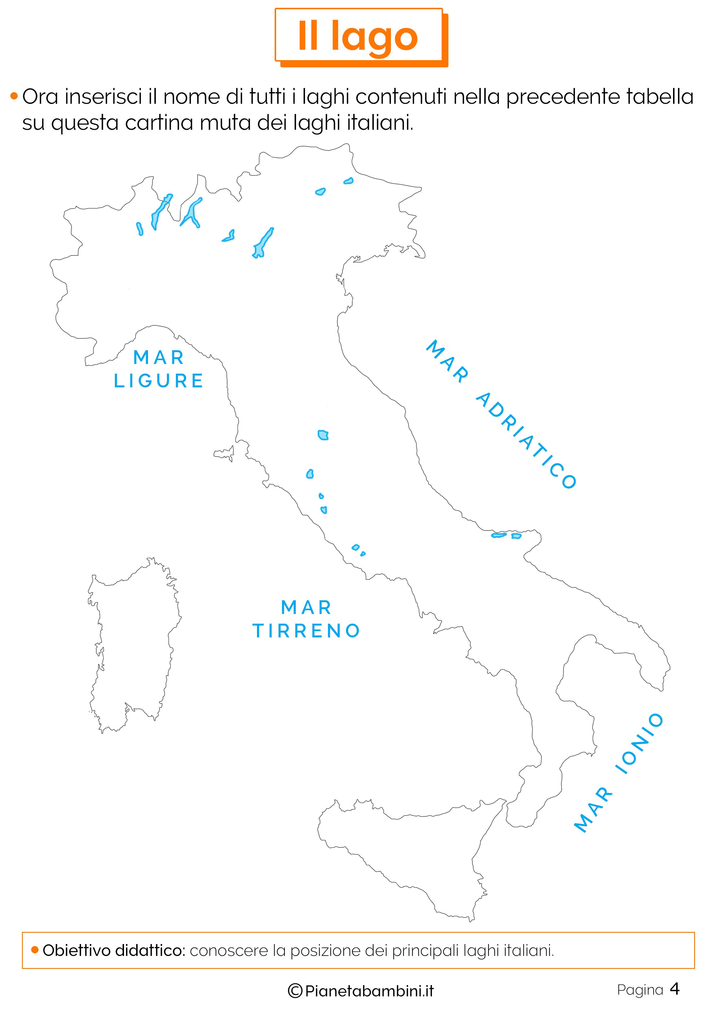 Cartina muta dei laghi italiani