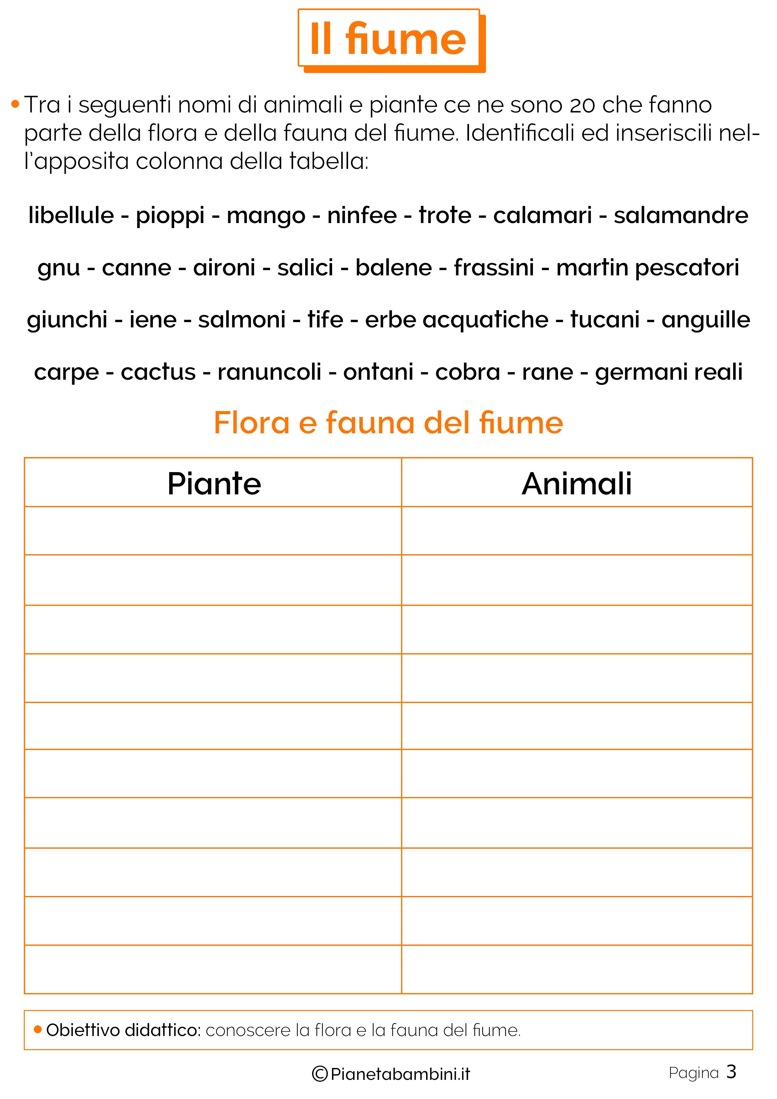 Animali e piante fluviali