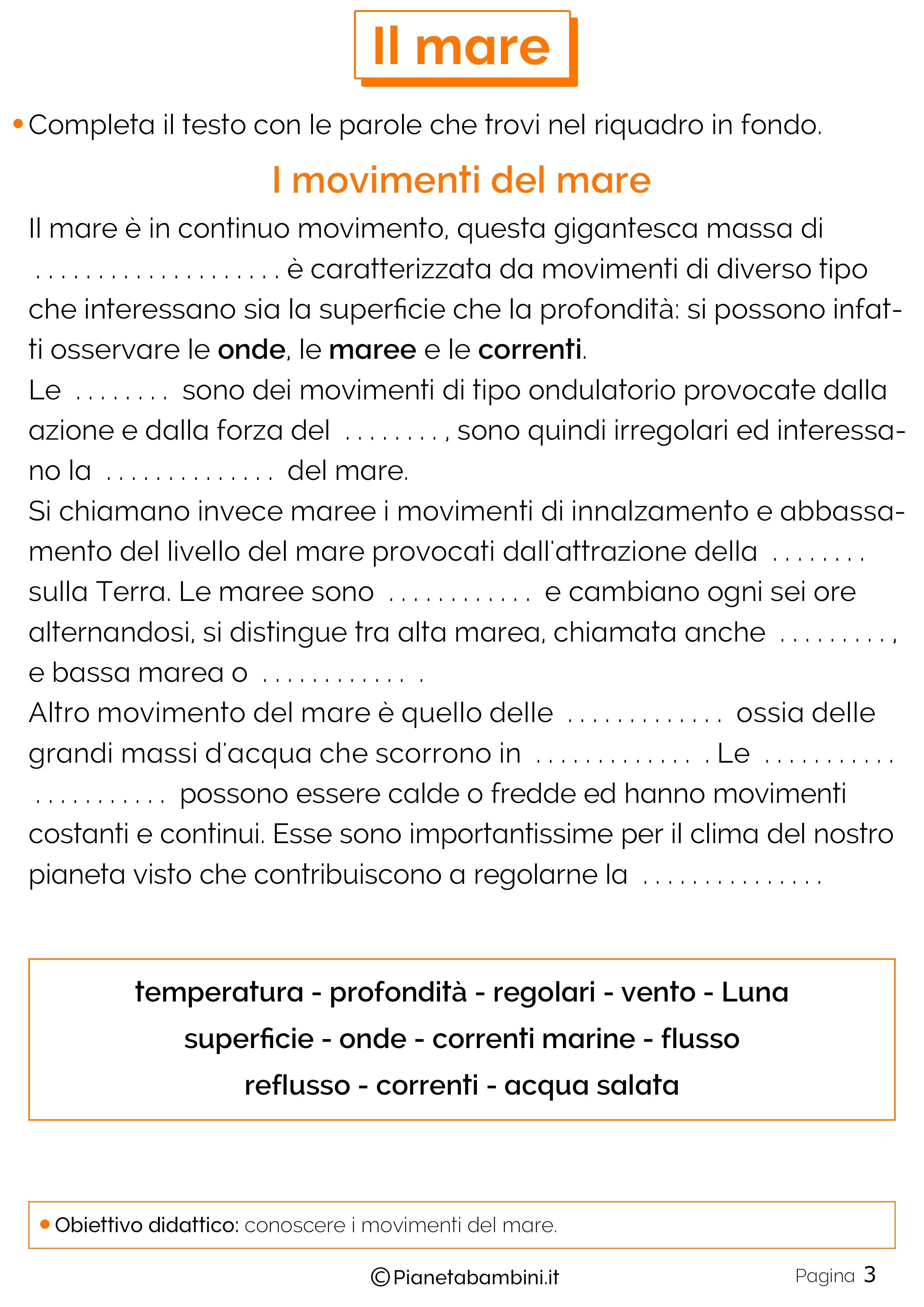 Preferenza Il Mare: Schede Didattiche per la Scuola Primaria | PianetaBambini.it QG32