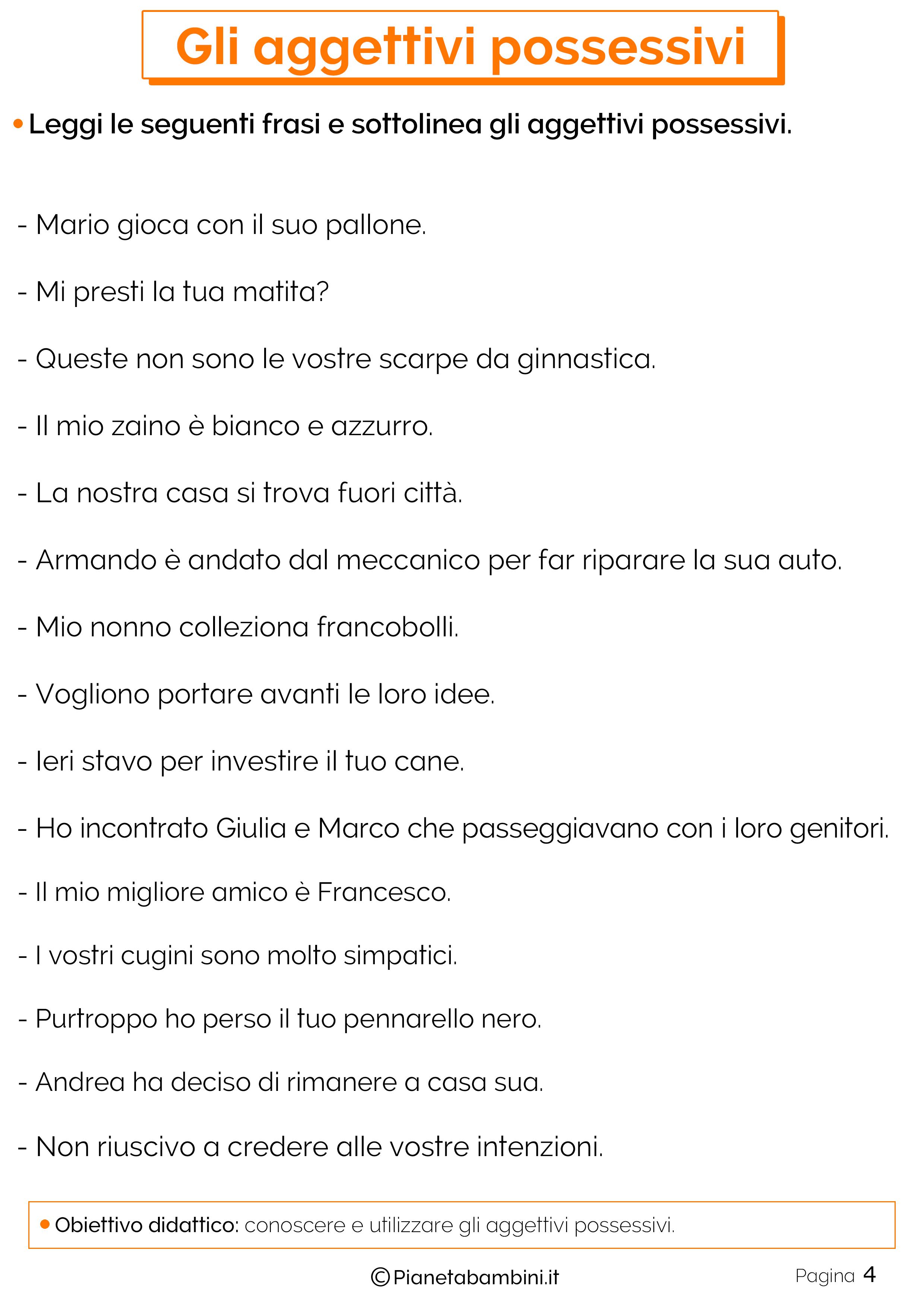 Esercizi sugli aggettivi Possessivi 4
